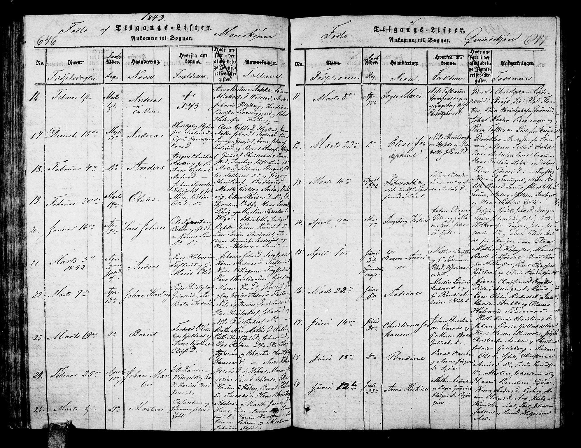 SAKO, Sande Kirkebøker, G/Ga/L0001: Klokkerbok nr. 1, 1814-1847, s. 646-647