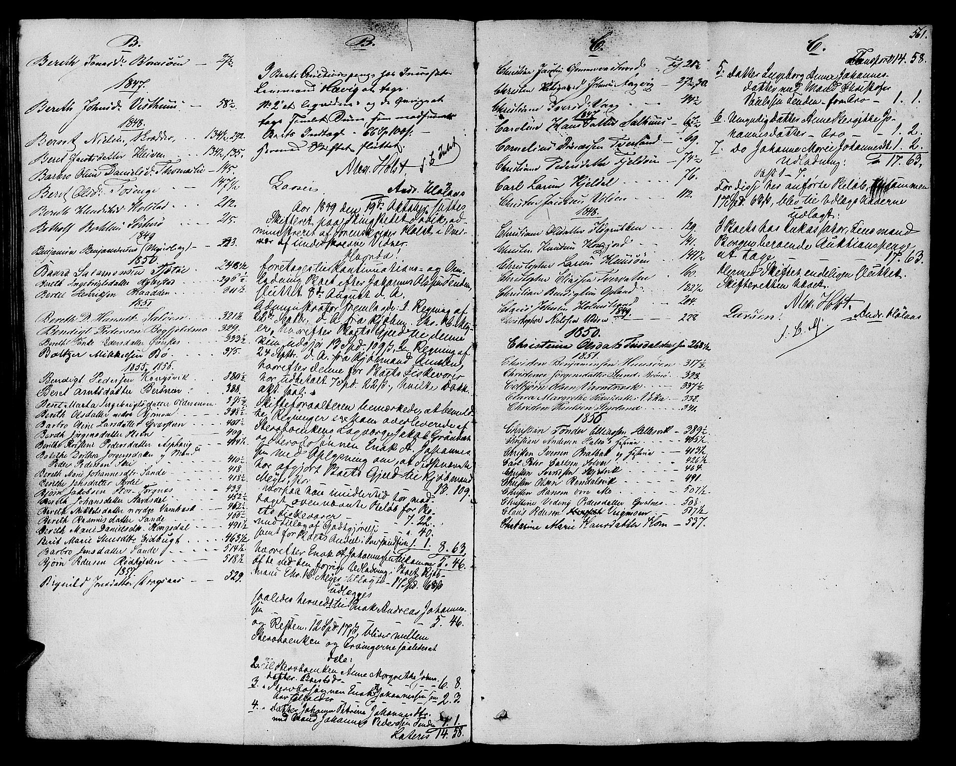 SAT, Helgeland sorenskriveri, 3/3A/L0104: Skifteprotokoll 49, 1845-1859, s. 560b-561a