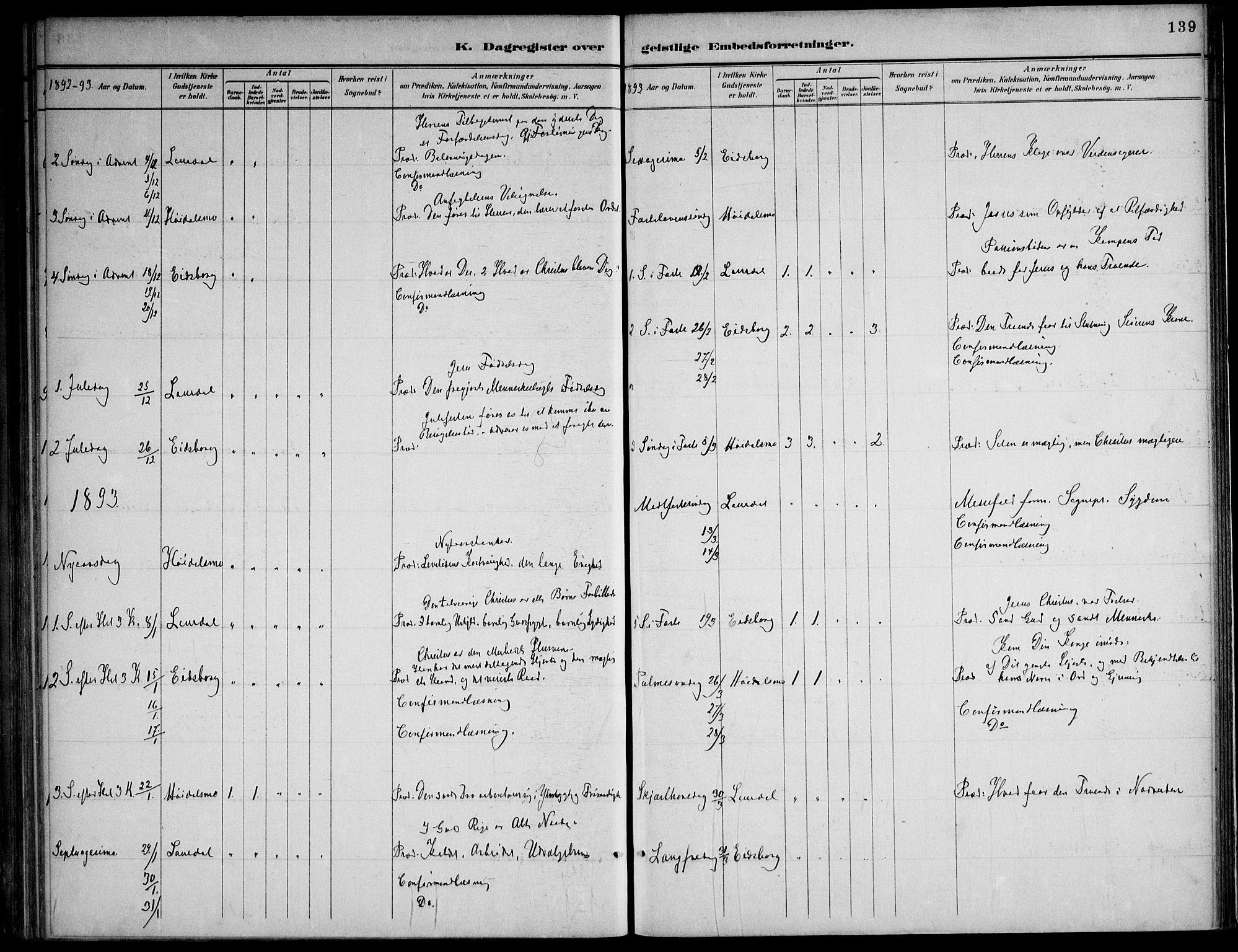 SAKO, Lårdal kirkebøker, F/Fa/L0007: Ministerialbok nr. I 7, 1887-1906, s. 139