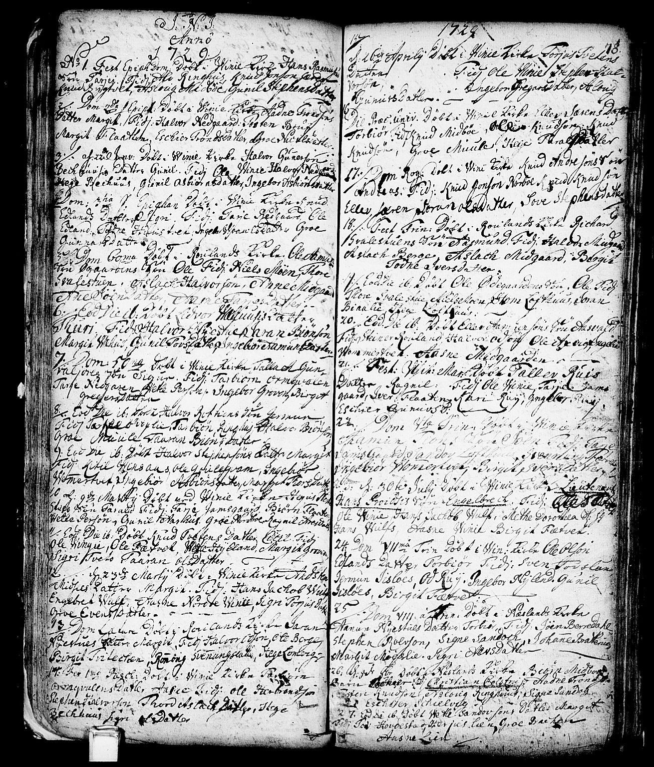 SAKO, Vinje kirkebøker, F/Fa/L0001: Ministerialbok nr. I 1, 1717-1766, s. 78