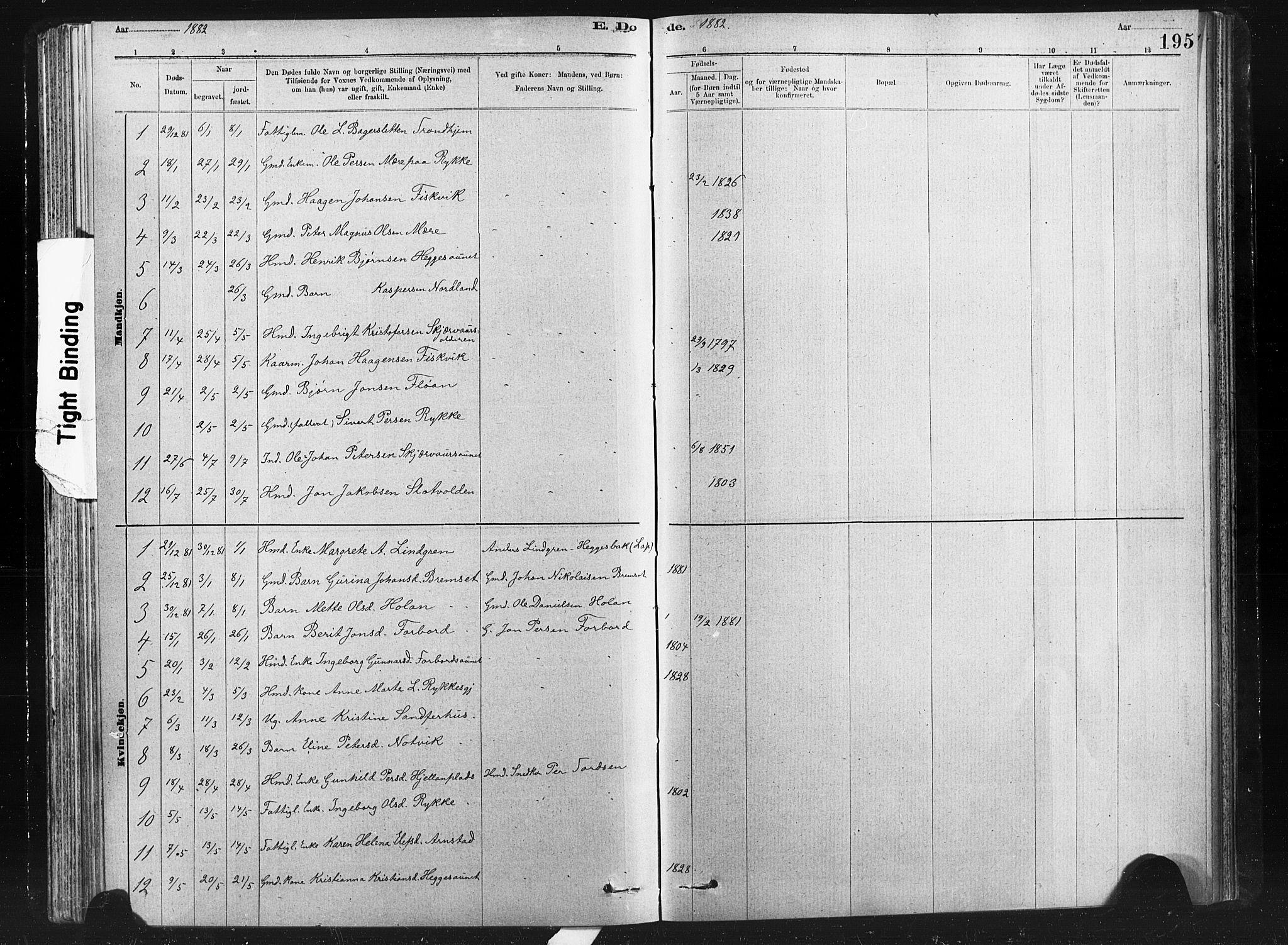 SAT, Ministerialprotokoller, klokkerbøker og fødselsregistre - Nord-Trøndelag, 712/L0103: Klokkerbok nr. 712C01, 1878-1917, s. 195
