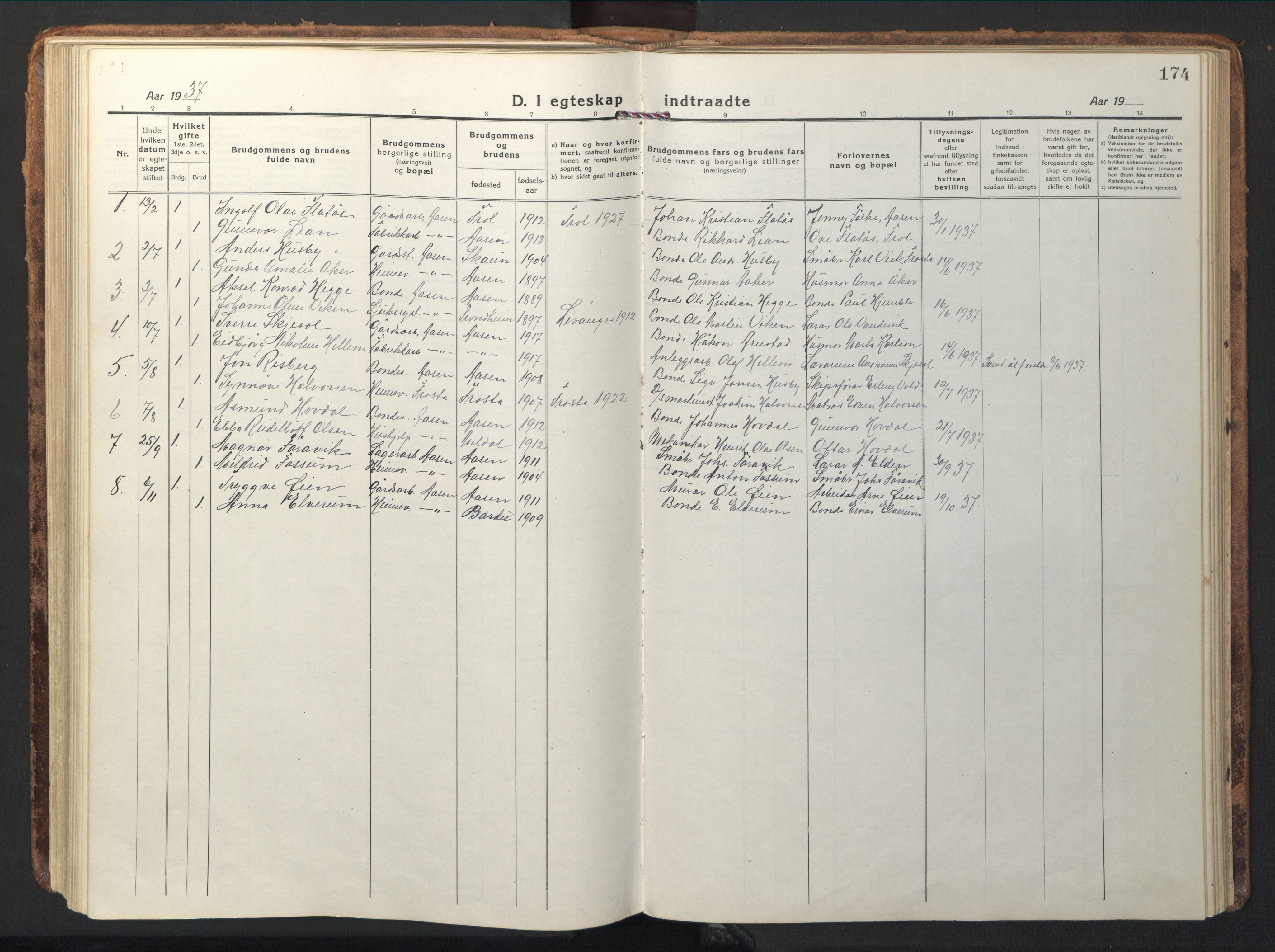 SAT, Ministerialprotokoller, klokkerbøker og fødselsregistre - Nord-Trøndelag, 714/L0136: Klokkerbok nr. 714C05, 1918-1957, s. 174