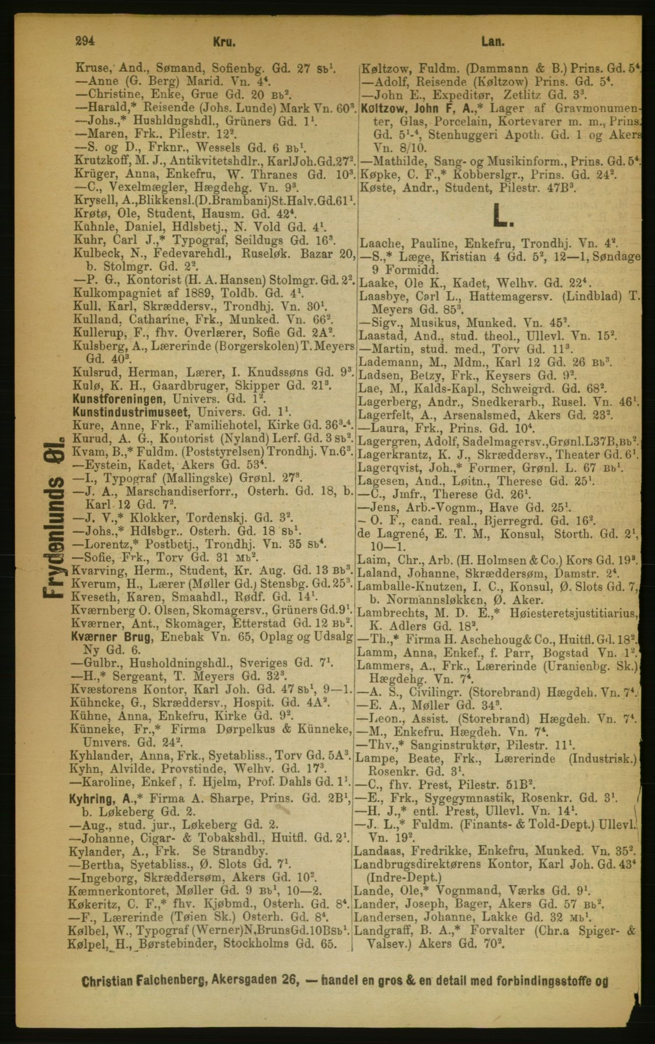 RA, Kristiania adressebok (publikasjon)*, 1889, s. 294