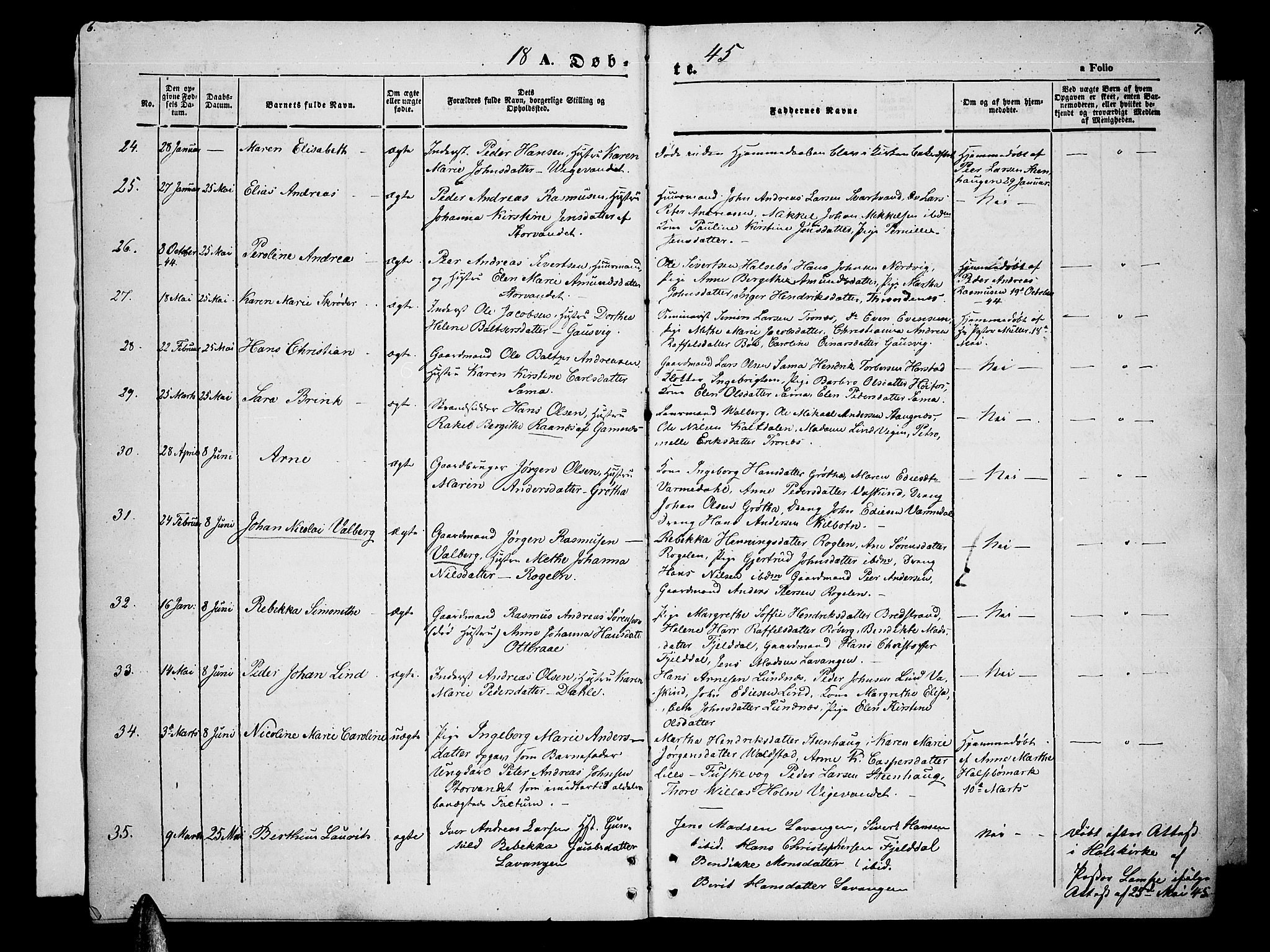 SATØ, Trondenes sokneprestkontor, H/Hb/L0006klokker: Klokkerbok nr. 6, 1845-1855, s. 6-7