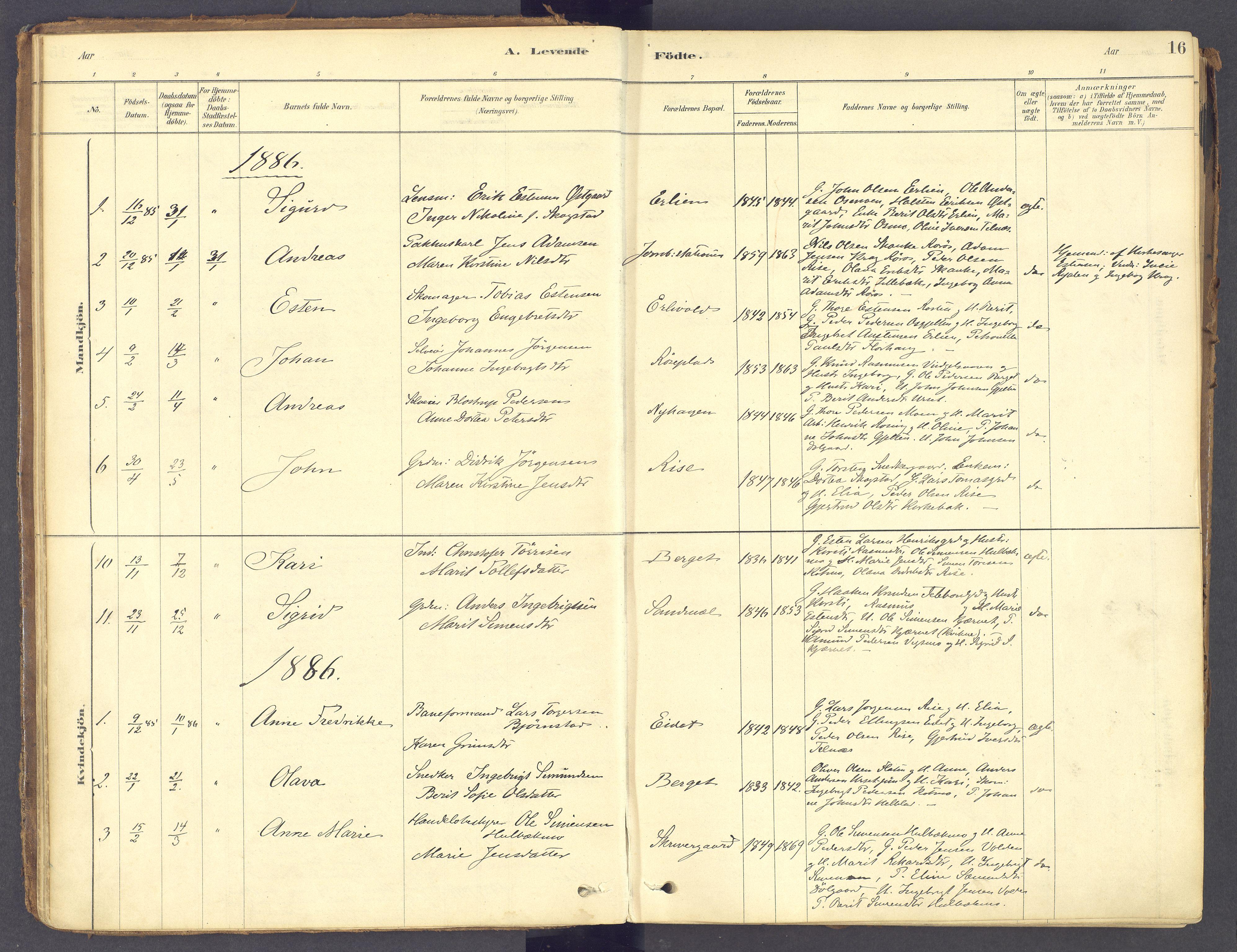 SAH, Tolga prestekontor, K/L0011: Ministerialbok nr. 11, 1877-1920, s. 16