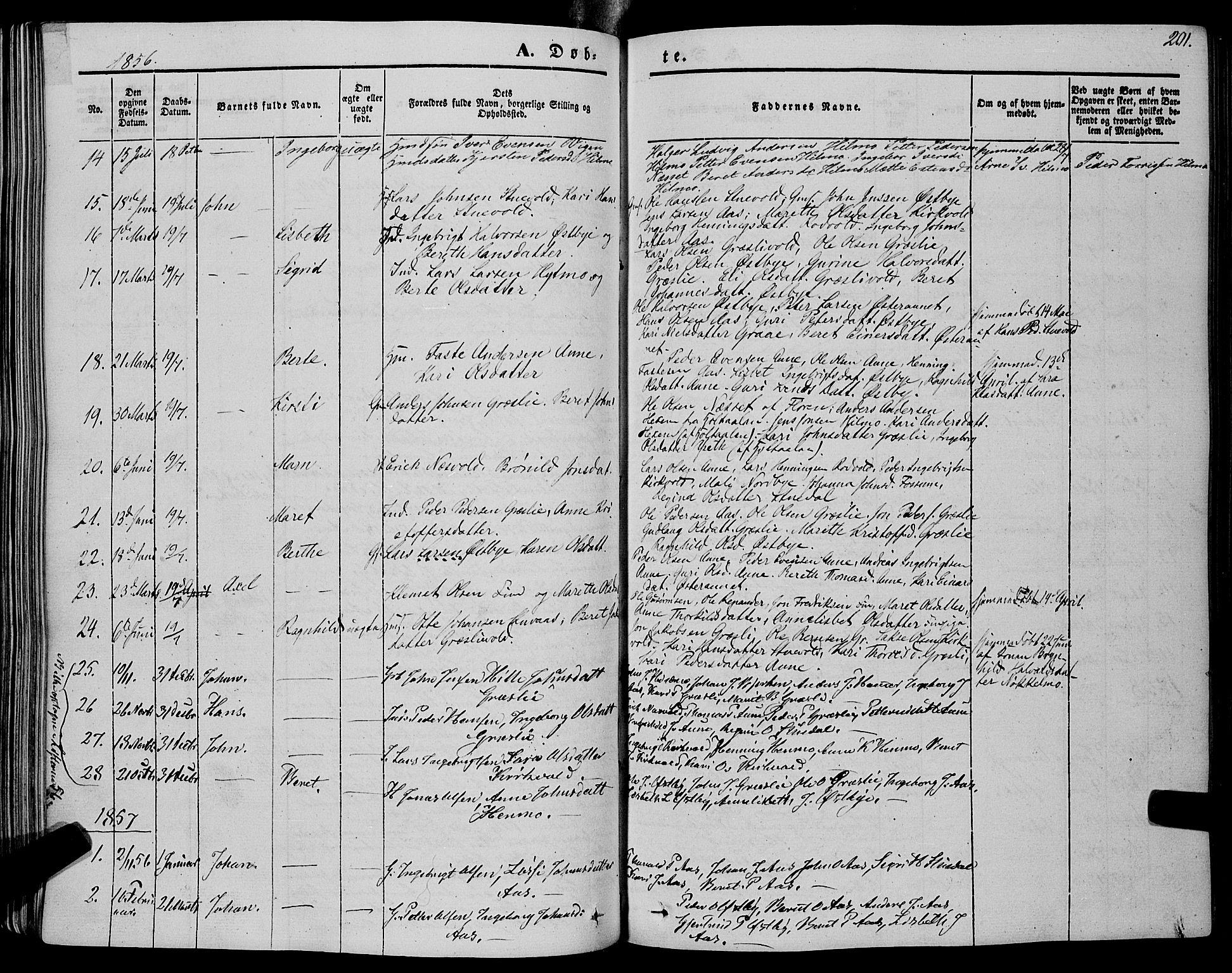 SAT, Ministerialprotokoller, klokkerbøker og fødselsregistre - Sør-Trøndelag, 695/L1146: Ministerialbok nr. 695A06 /2, 1843-1859, s. 201