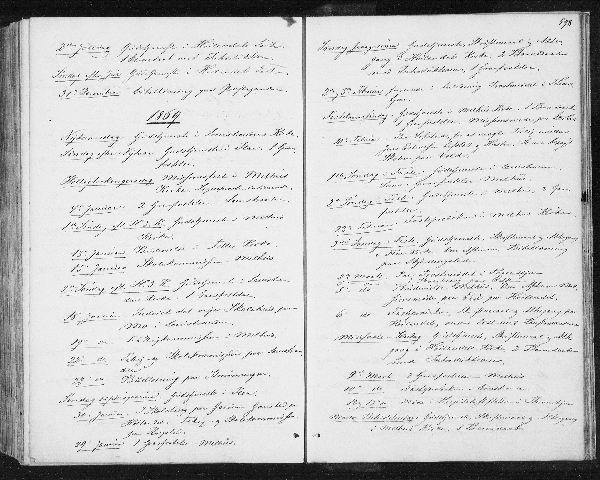 SAT, Ministerialprotokoller, klokkerbøker og fødselsregistre - Sør-Trøndelag, 691/L1077: Ministerialbok nr. 691A09, 1862-1873, s. 598