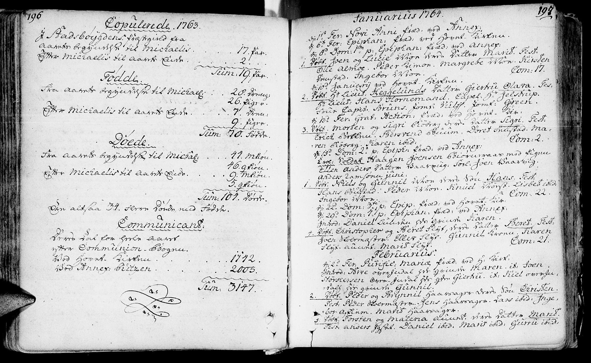 SAT, Ministerialprotokoller, klokkerbøker og fødselsregistre - Sør-Trøndelag, 646/L0605: Ministerialbok nr. 646A03, 1751-1790, s. 196-197