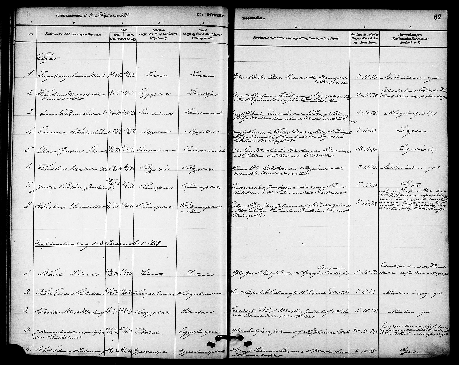 SAT, Ministerialprotokoller, klokkerbøker og fødselsregistre - Nord-Trøndelag, 740/L0378: Ministerialbok nr. 740A01, 1881-1895, s. 62
