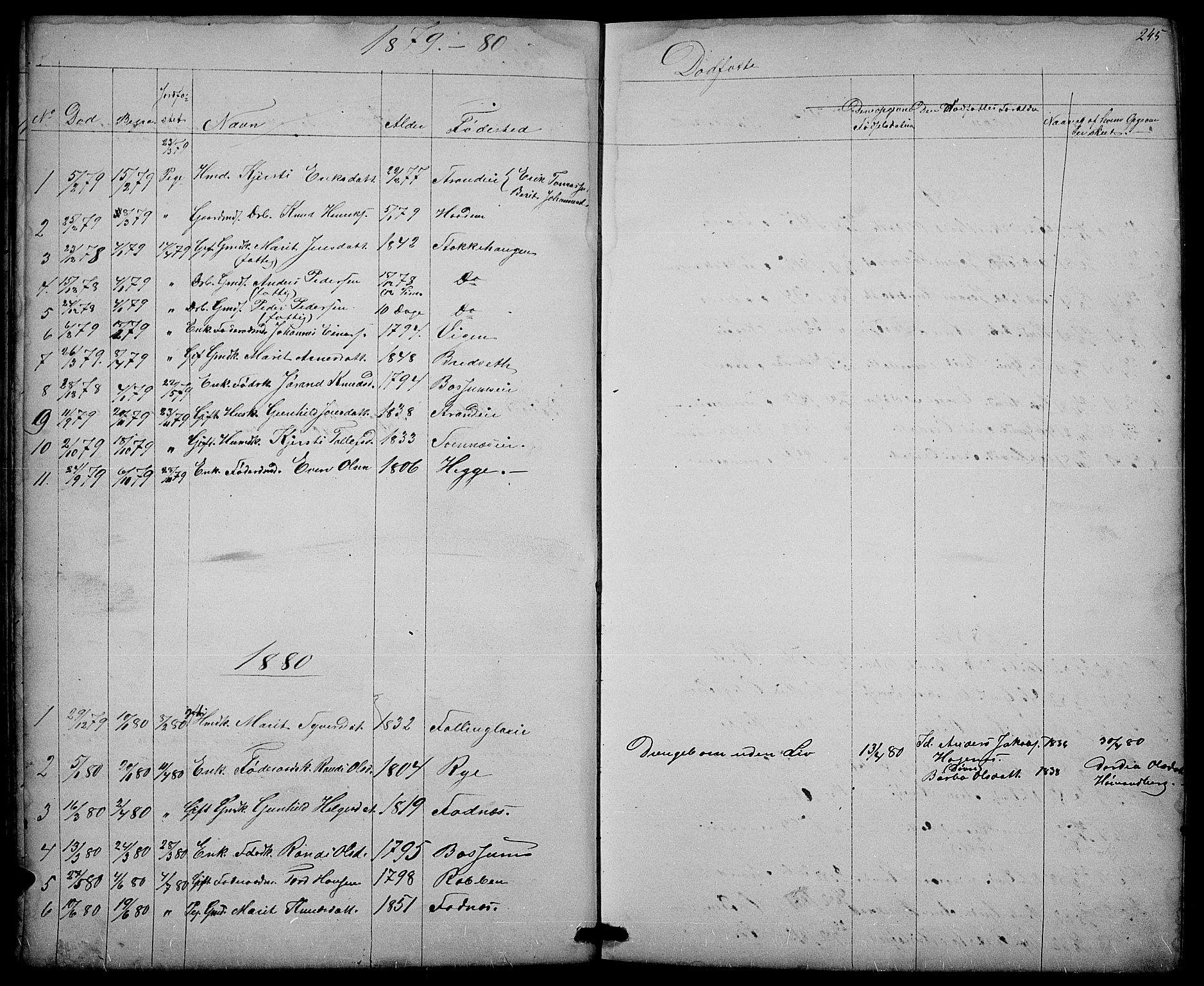 SAH, Nord-Aurdal prestekontor, Klokkerbok nr. 3, 1842-1882, s. 245