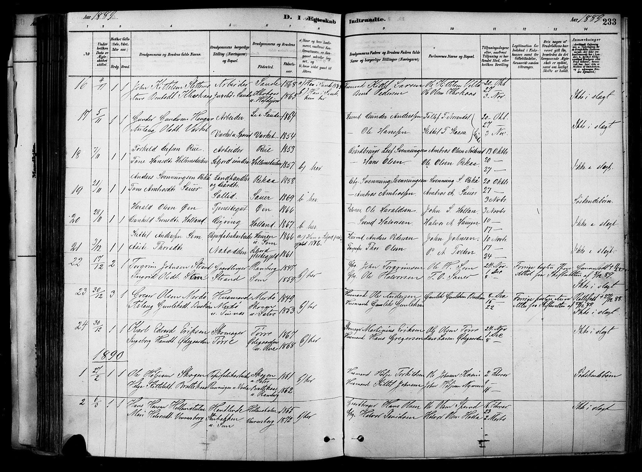 SAKO, Heddal kirkebøker, F/Fa/L0008: Ministerialbok nr. I 8, 1878-1903, s. 233