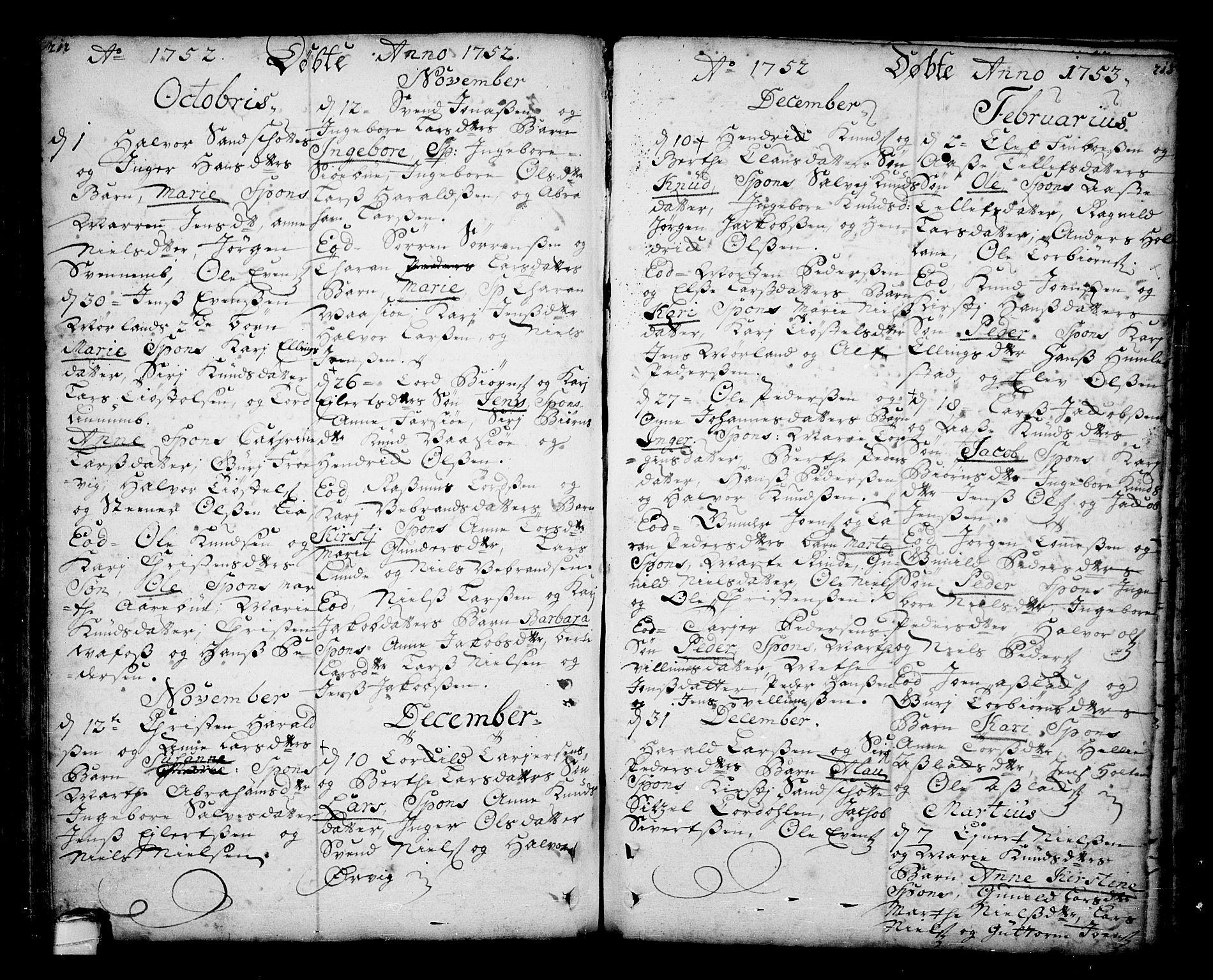SAKO, Sannidal kirkebøker, F/Fa/L0001: Ministerialbok nr. 1, 1702-1766, s. 212-213