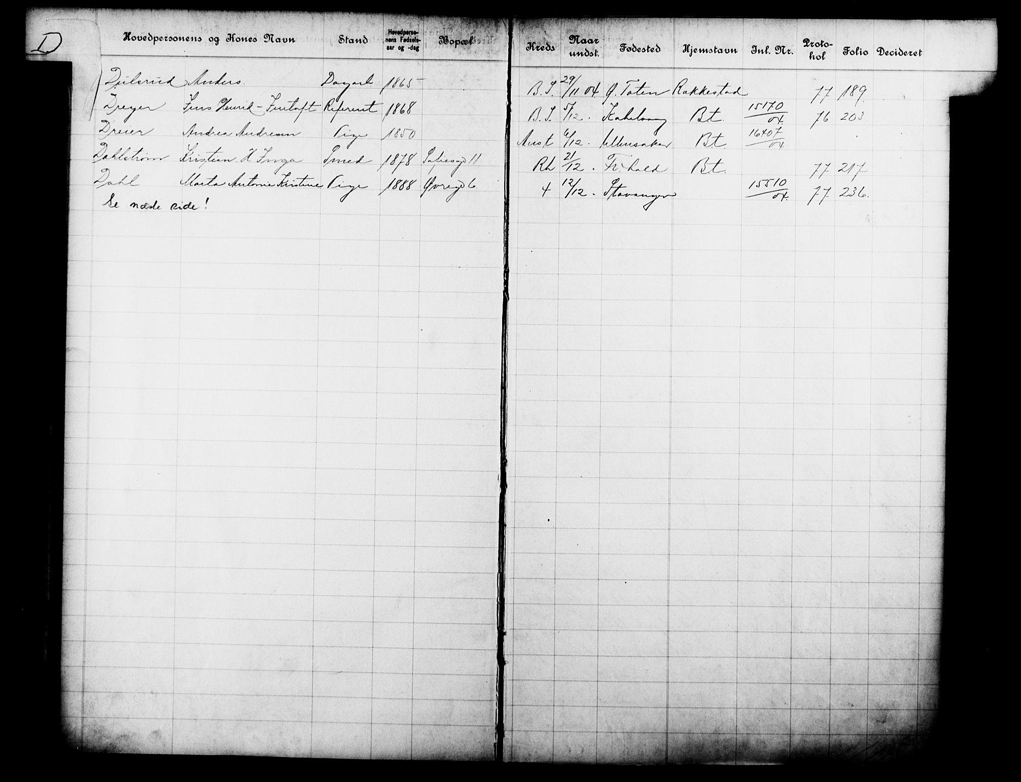 OBA, Fattigvesenet, Fb/L0023: Hjemstavnsregister, 1904, s. 35
