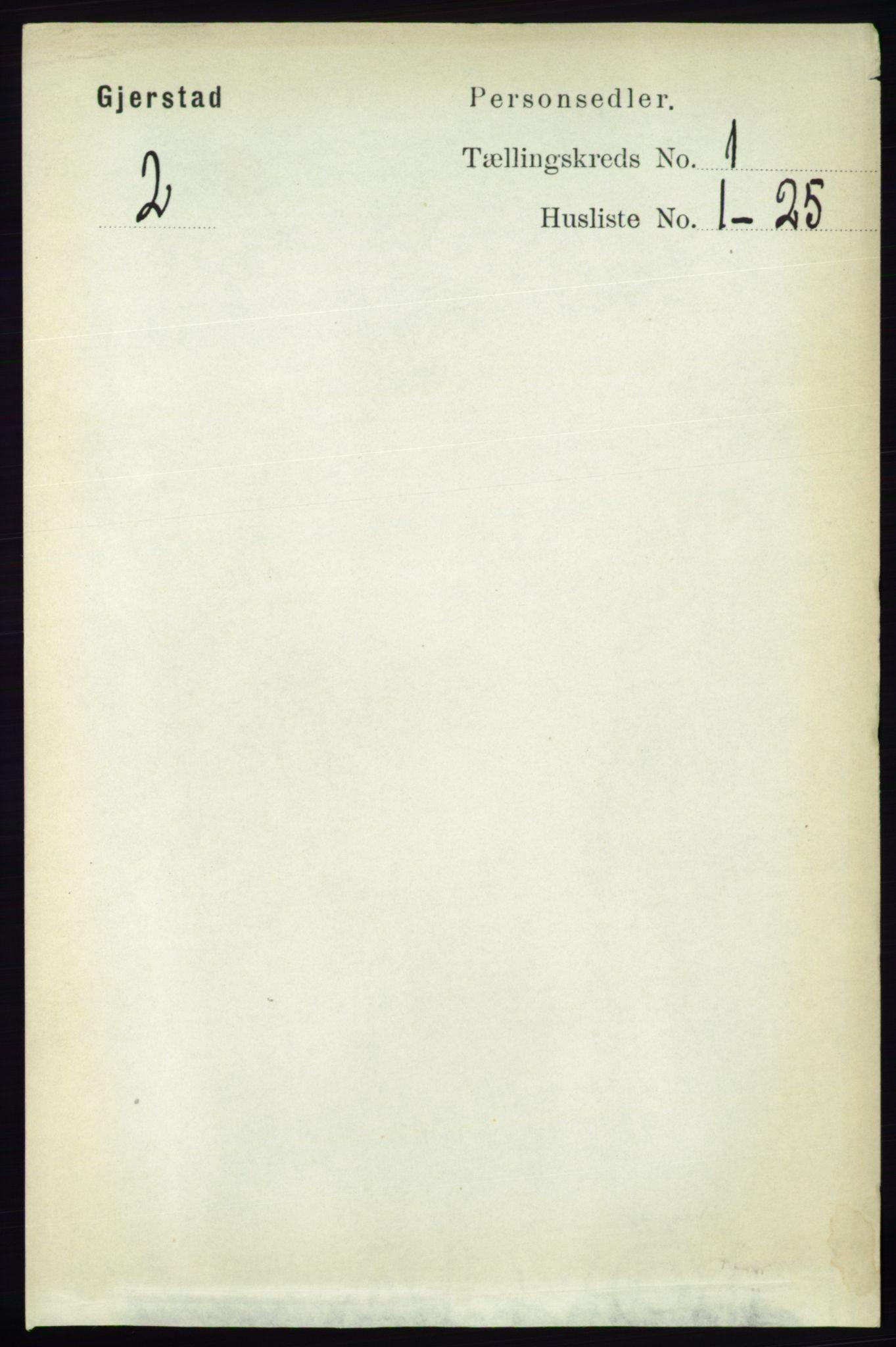 RA, Folketelling 1891 for 0911 Gjerstad herred, 1891, s. 103