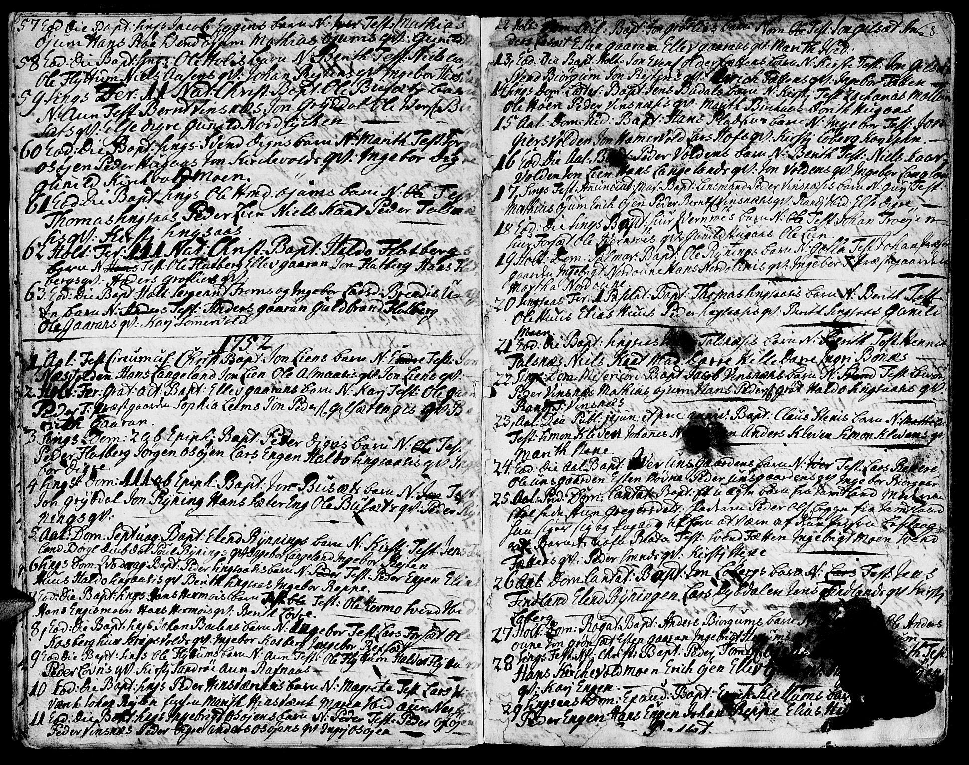 SAT, Ministerialprotokoller, klokkerbøker og fødselsregistre - Sør-Trøndelag, 685/L0952: Ministerialbok nr. 685A01, 1745-1804, s. 8