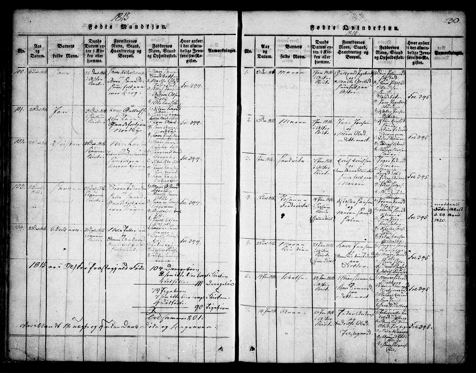 SAO, Asker prestekontor Kirkebøker, F/Fa/L0006: Ministerialbok nr. I 6, 1814-1824, s. 30