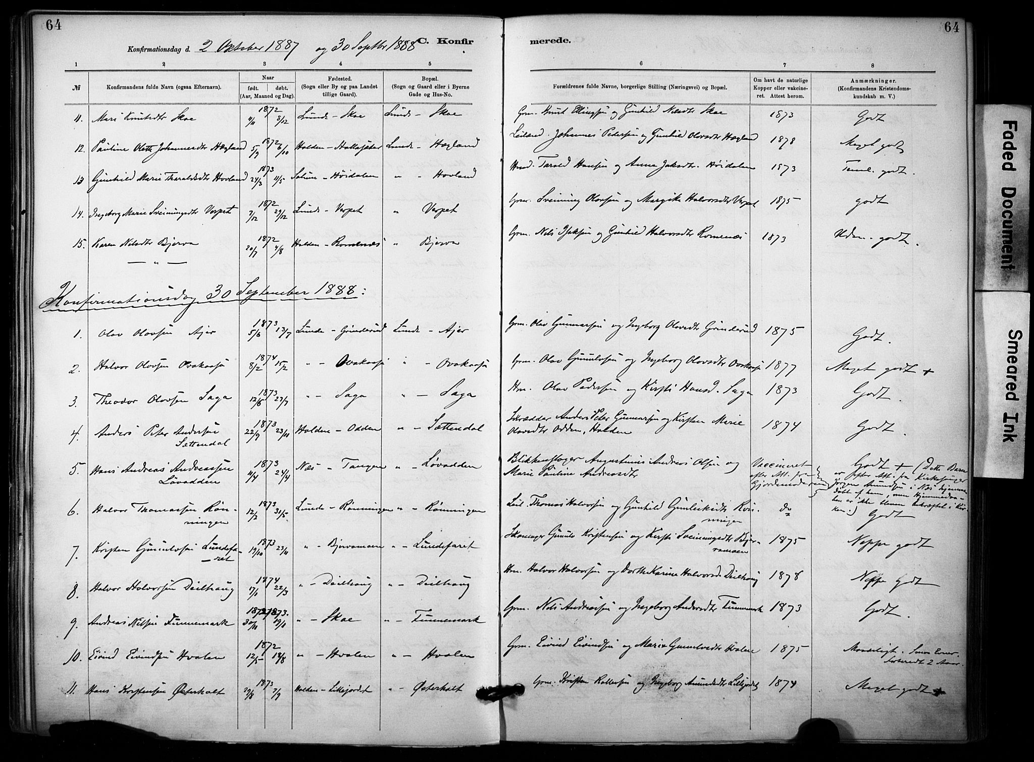 SAKO, Lunde kirkebøker, F/Fa/L0002: Ministerialbok nr. I 2, 1884-1892, s. 64