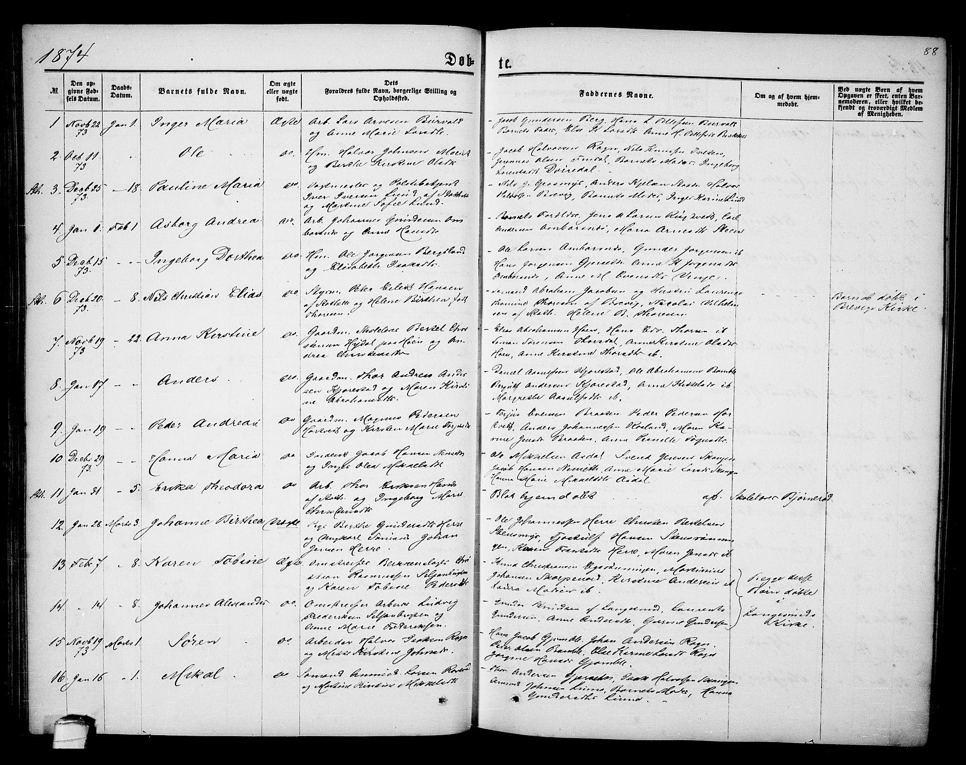 SAKO, Bamble kirkebøker, G/Ga/L0006: Klokkerbok nr. I 6, 1860-1876, s. 88