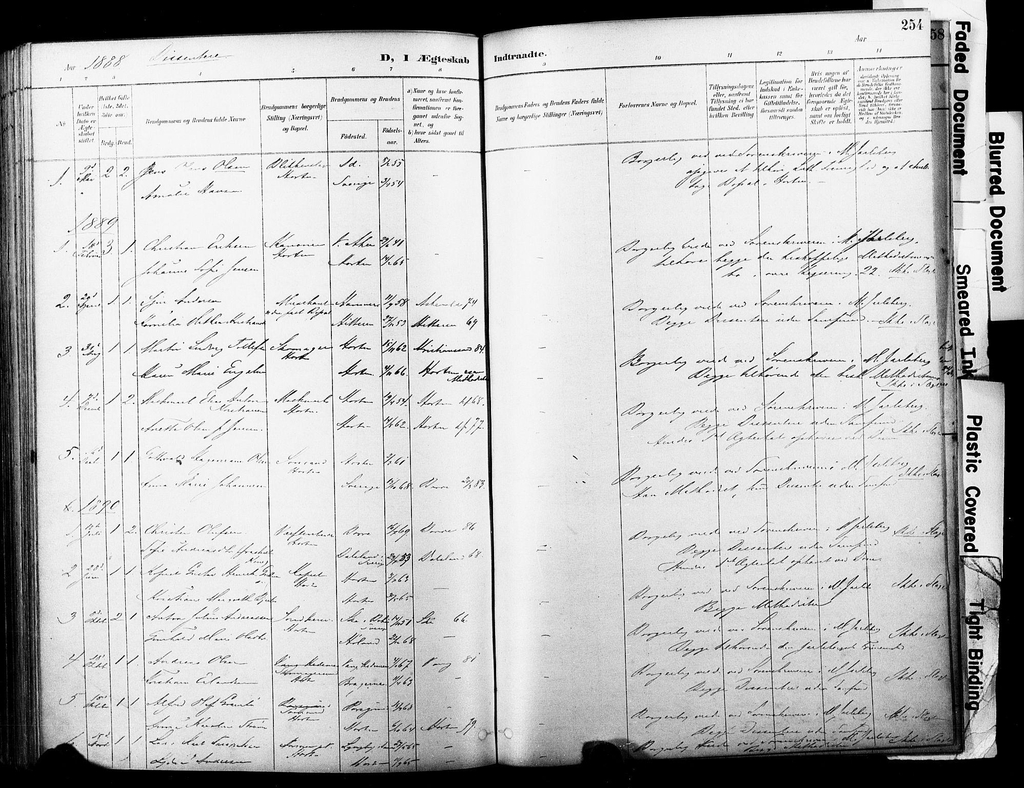 SAKO, Horten kirkebøker, F/Fa/L0004: Ministerialbok nr. 4, 1888-1895, s. 254