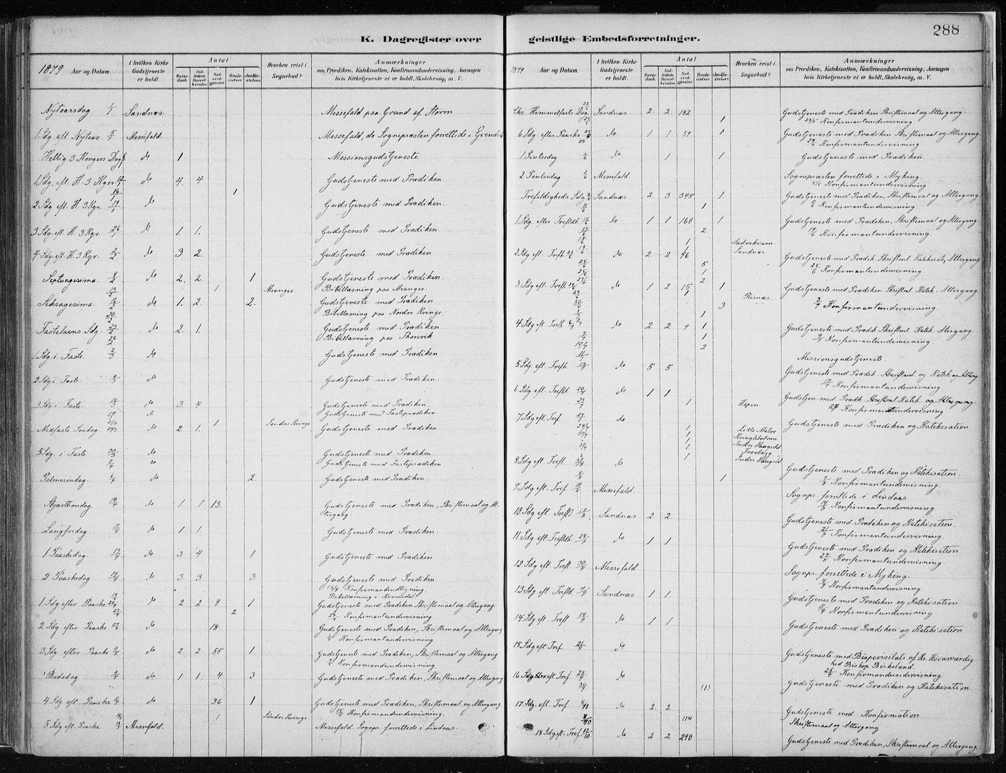 SAB, Masfjorden Soknepresembete, Ministerialbok nr. B  1, 1876-1899, s. 288