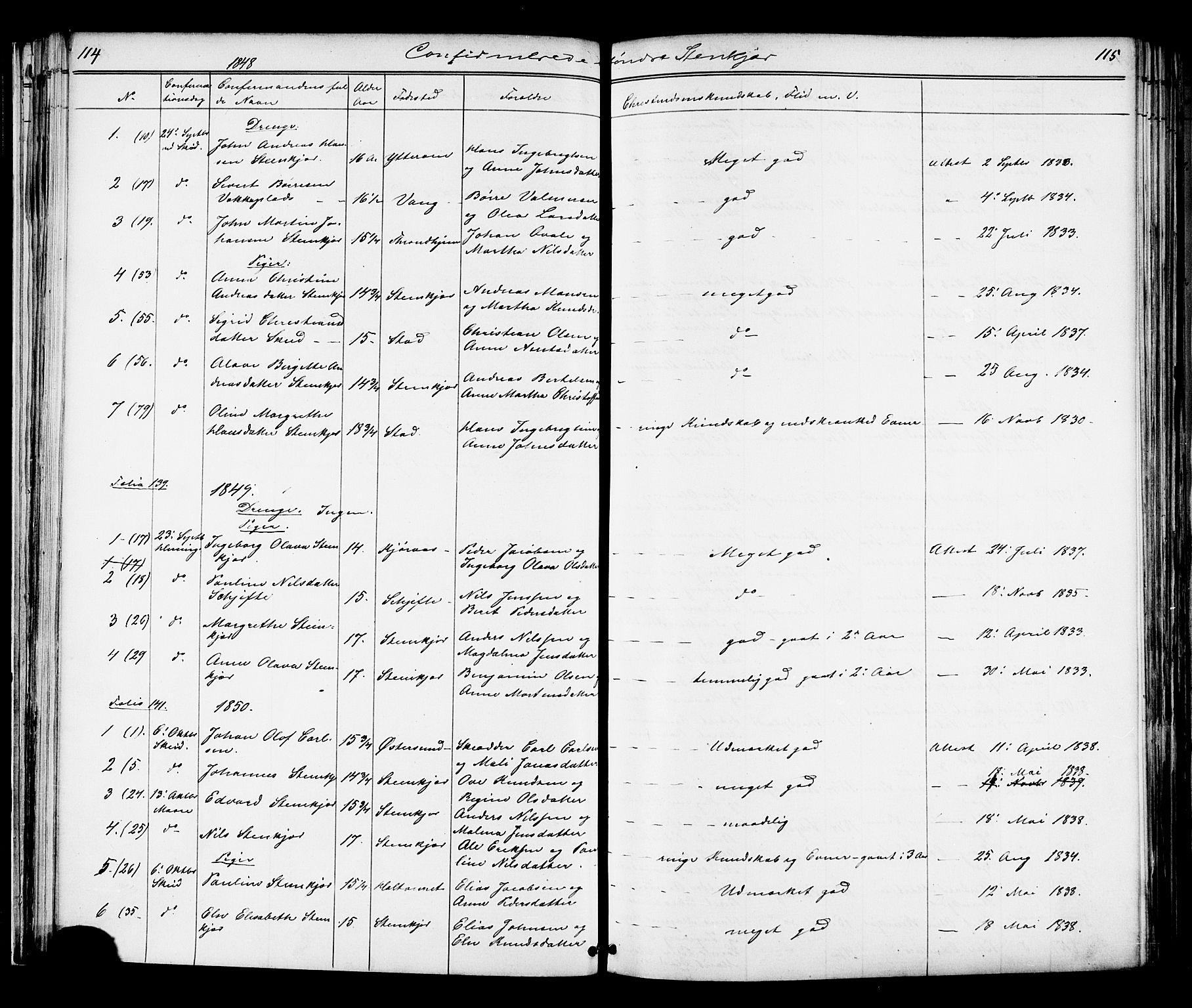 SAT, Ministerialprotokoller, klokkerbøker og fødselsregistre - Nord-Trøndelag, 739/L0367: Ministerialbok nr. 739A01 /1, 1838-1868, s. 114-115
