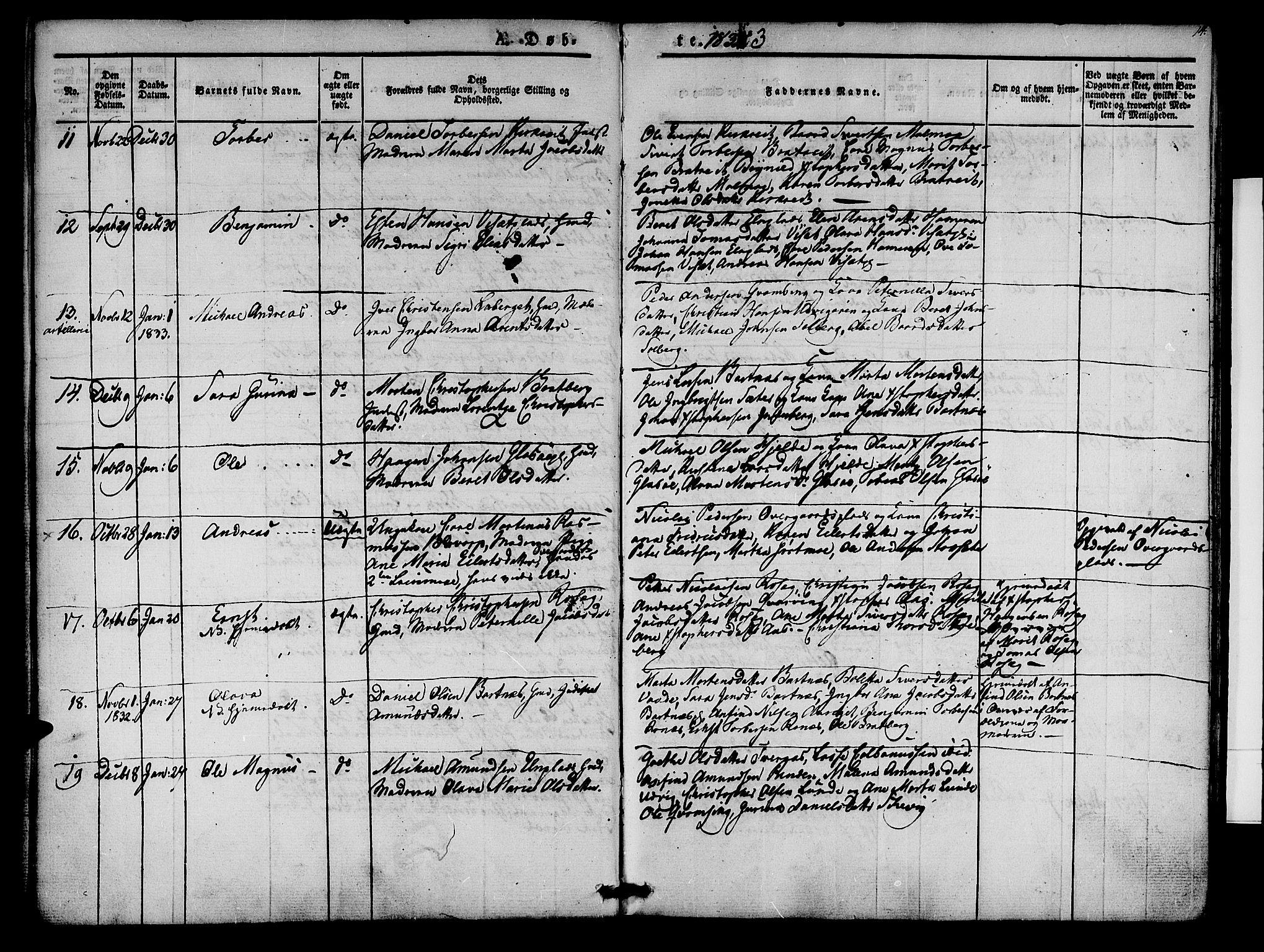SAT, Ministerialprotokoller, klokkerbøker og fødselsregistre - Nord-Trøndelag, 741/L0391: Ministerialbok nr. 741A05, 1831-1836, s. 14
