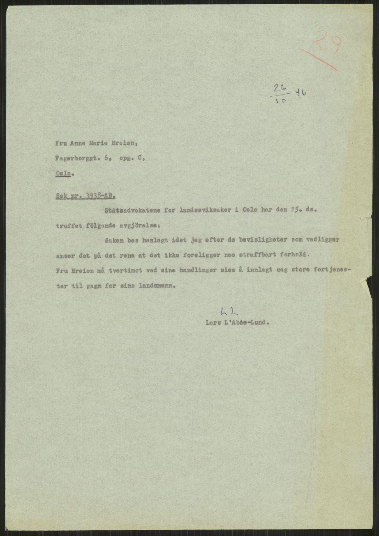 RA, Landssvikarkivet, Oslo politikammer, D/Dg/L0267: Henlagt hnr. 3658, 1945-1946, s. 300