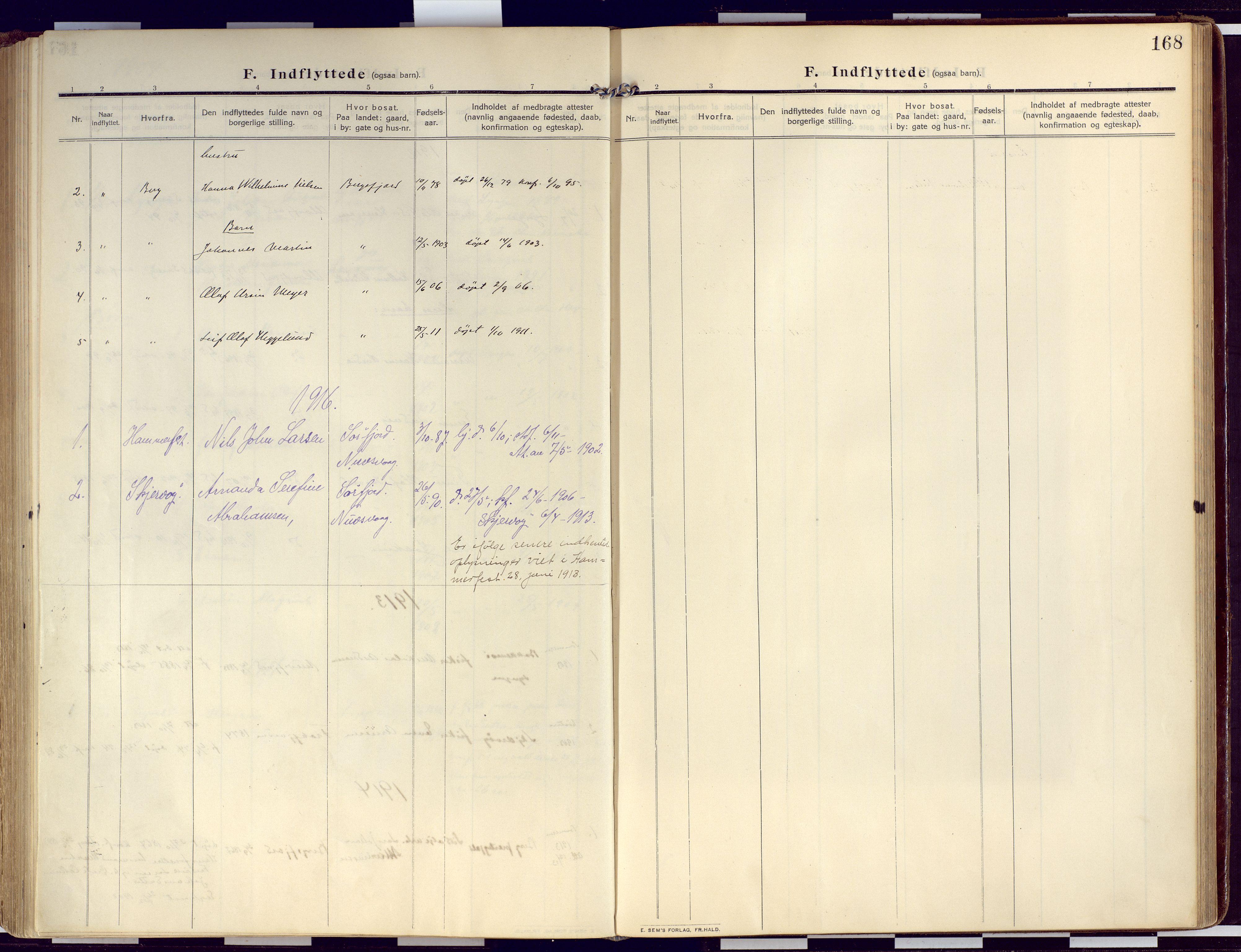 SATØ, Loppa sokneprestkontor, H/Ha/L0011kirke: Ministerialbok nr. 11, 1909-1919, s. 168