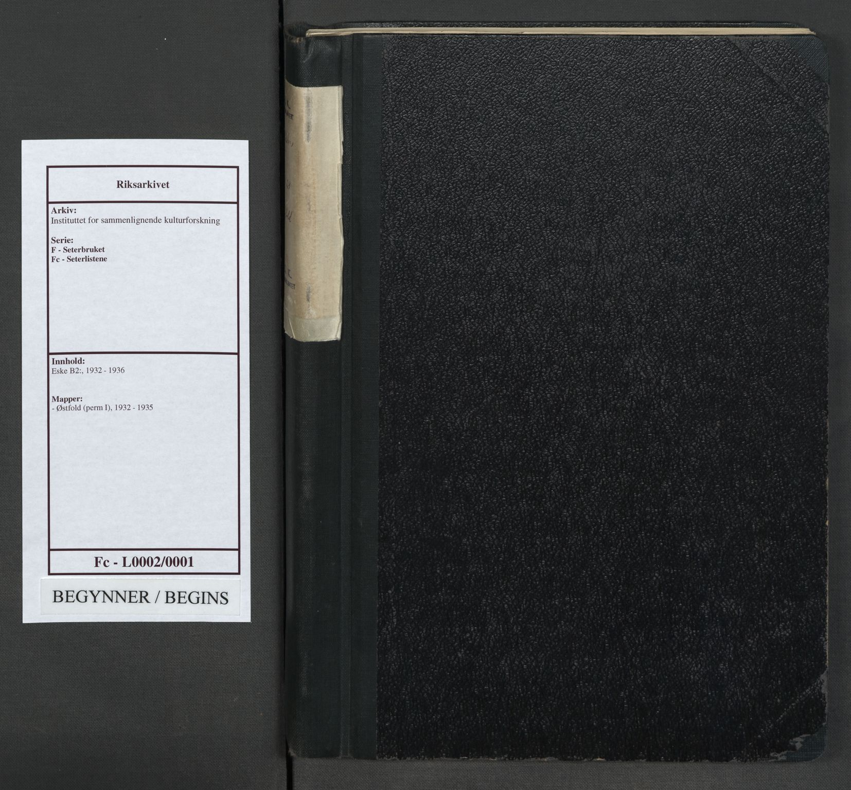 RA, Instituttet for sammenlignende kulturforskning, F/Fc/L0002: Eske B2:, 1932-1935, s. upaginert