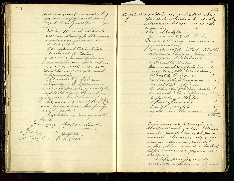 SAST, PA 1534 - Østlandske Petroleumscompagni A/S, A/Aa/L0001: Generalforsamlinger og direksjonsprotokoller., 1892-1960, s. 106-107