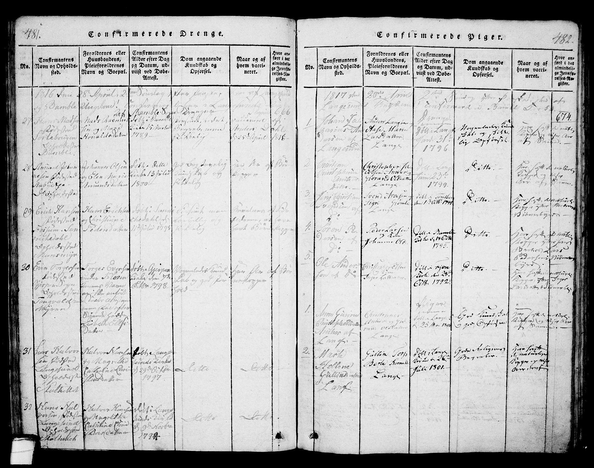 SAKO, Langesund kirkebøker, G/Ga/L0003: Klokkerbok nr. 3, 1815-1858, s. 481-482