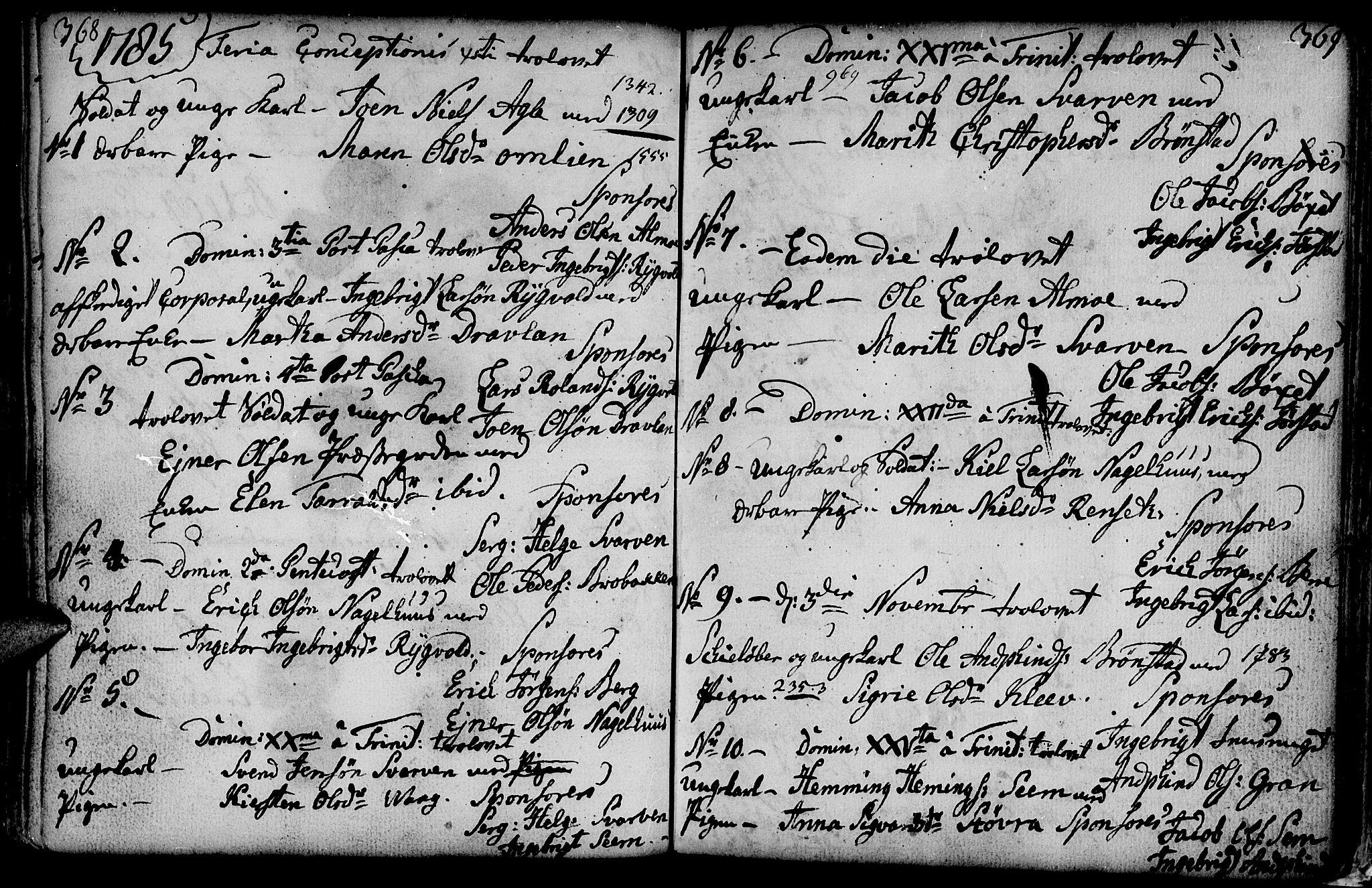 SAT, Ministerialprotokoller, klokkerbøker og fødselsregistre - Nord-Trøndelag, 749/L0467: Ministerialbok nr. 749A01, 1733-1787, s. 368-369