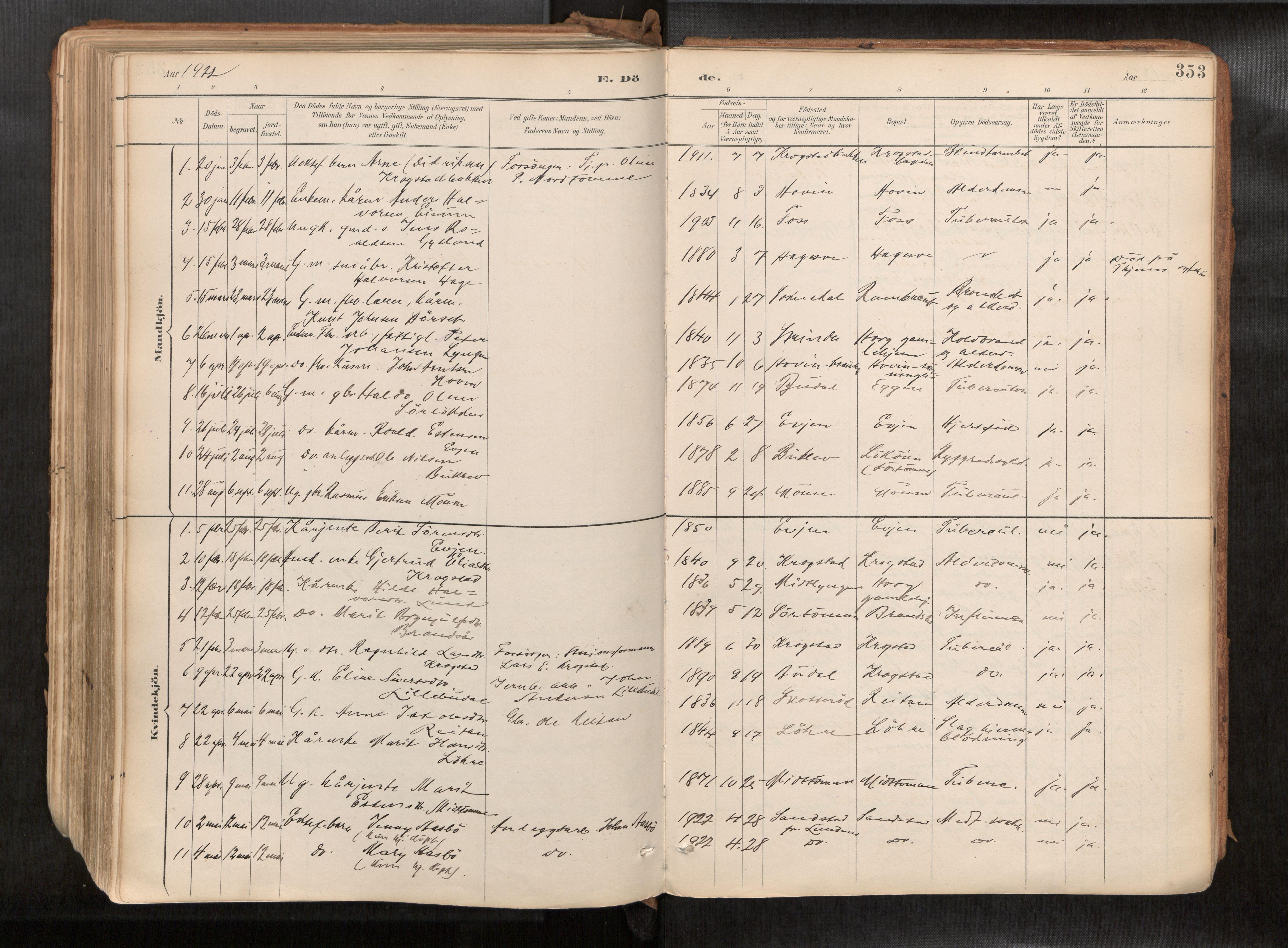 SAT, Ministerialprotokoller, klokkerbøker og fødselsregistre - Sør-Trøndelag, 692/L1105b: Ministerialbok nr. 692A06, 1891-1934, s. 353