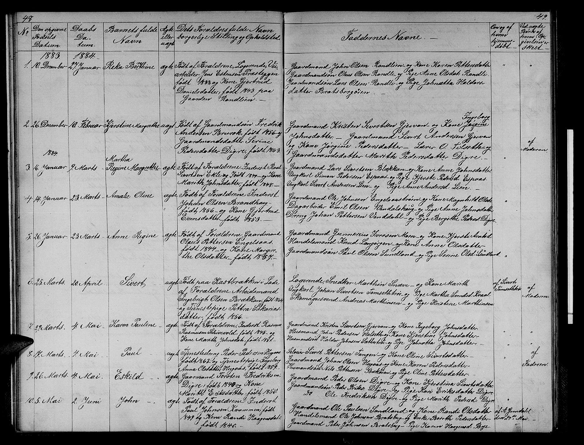SAT, Ministerialprotokoller, klokkerbøker og fødselsregistre - Sør-Trøndelag, 608/L0340: Klokkerbok nr. 608C06, 1864-1889, s. 48-49