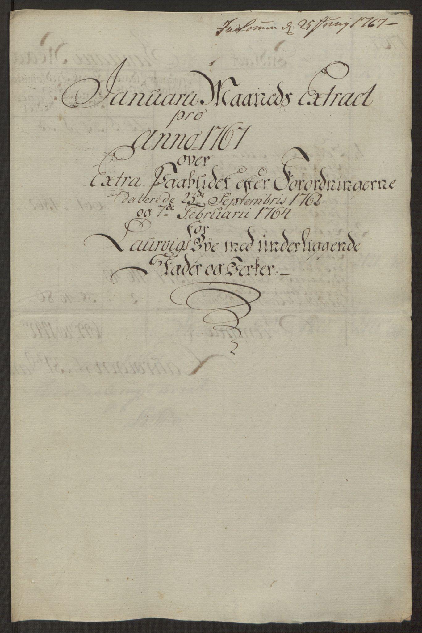 RA, Rentekammeret inntil 1814, Reviderte regnskaper, Byregnskaper, R/Ri/L0183: [I4] Kontribusjonsregnskap, 1762-1768, s. 391