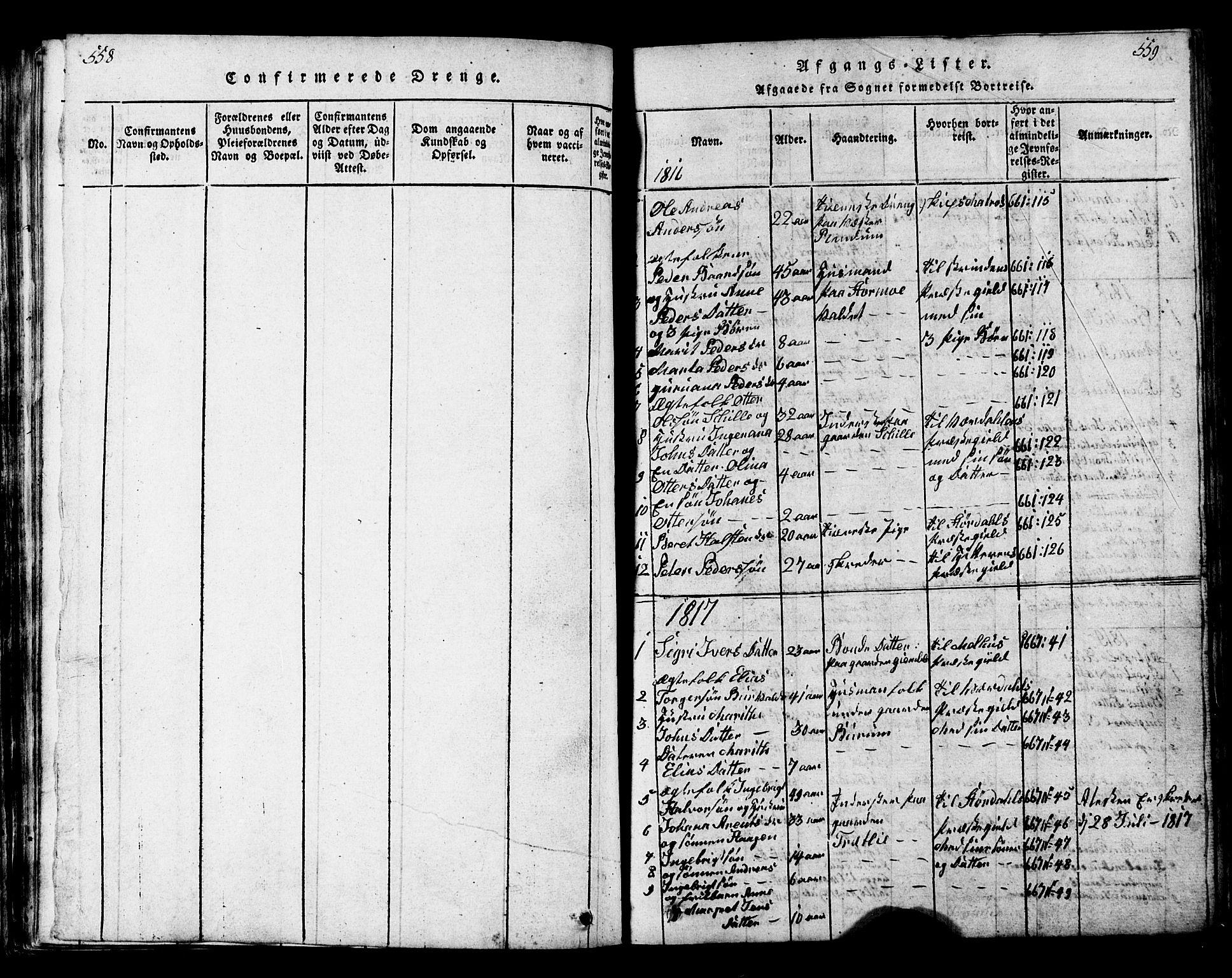 SAT, Ministerialprotokoller, klokkerbøker og fødselsregistre - Nord-Trøndelag, 717/L0169: Klokkerbok nr. 717C01, 1816-1834, s. 558-559