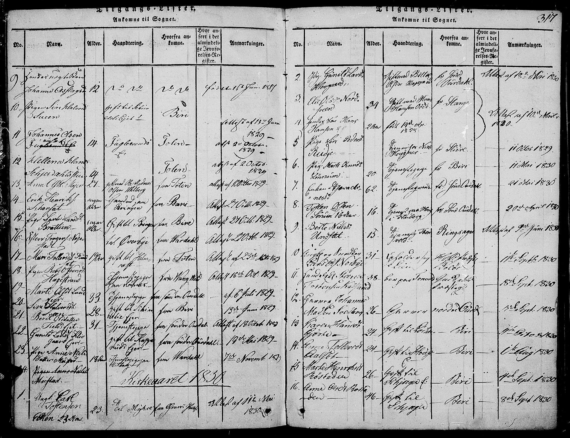 SAH, Land prestekontor, Ministerialbok nr. 7, 1814-1830, s. 317
