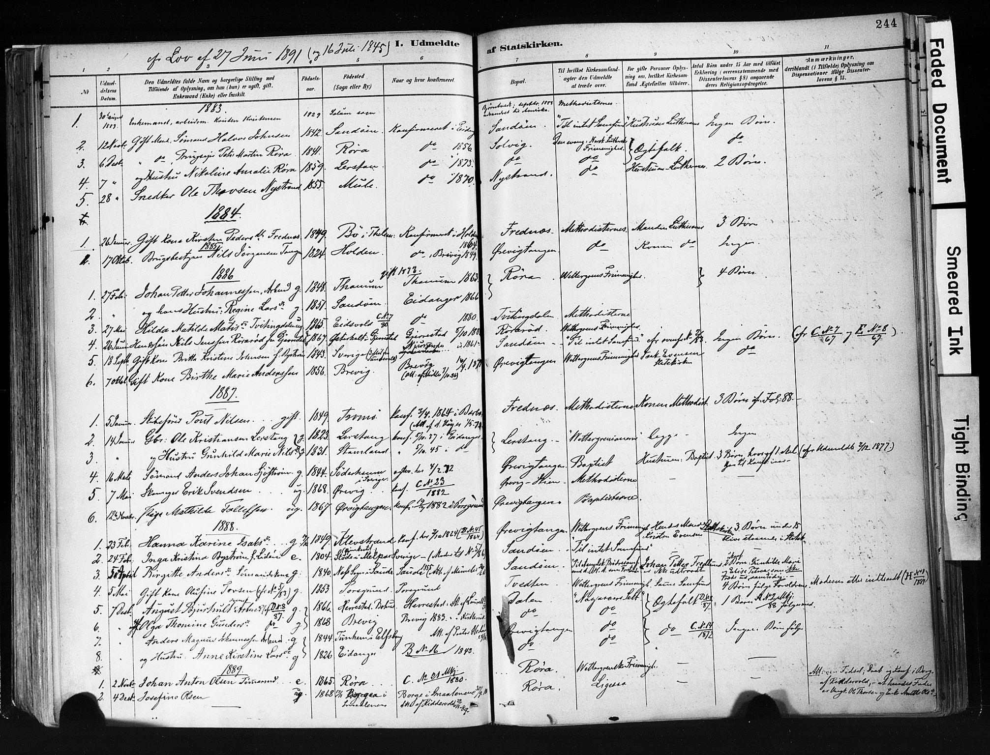SAKO, Eidanger kirkebøker, F/Fa/L0012: Ministerialbok nr. 12, 1879-1900, s. 244