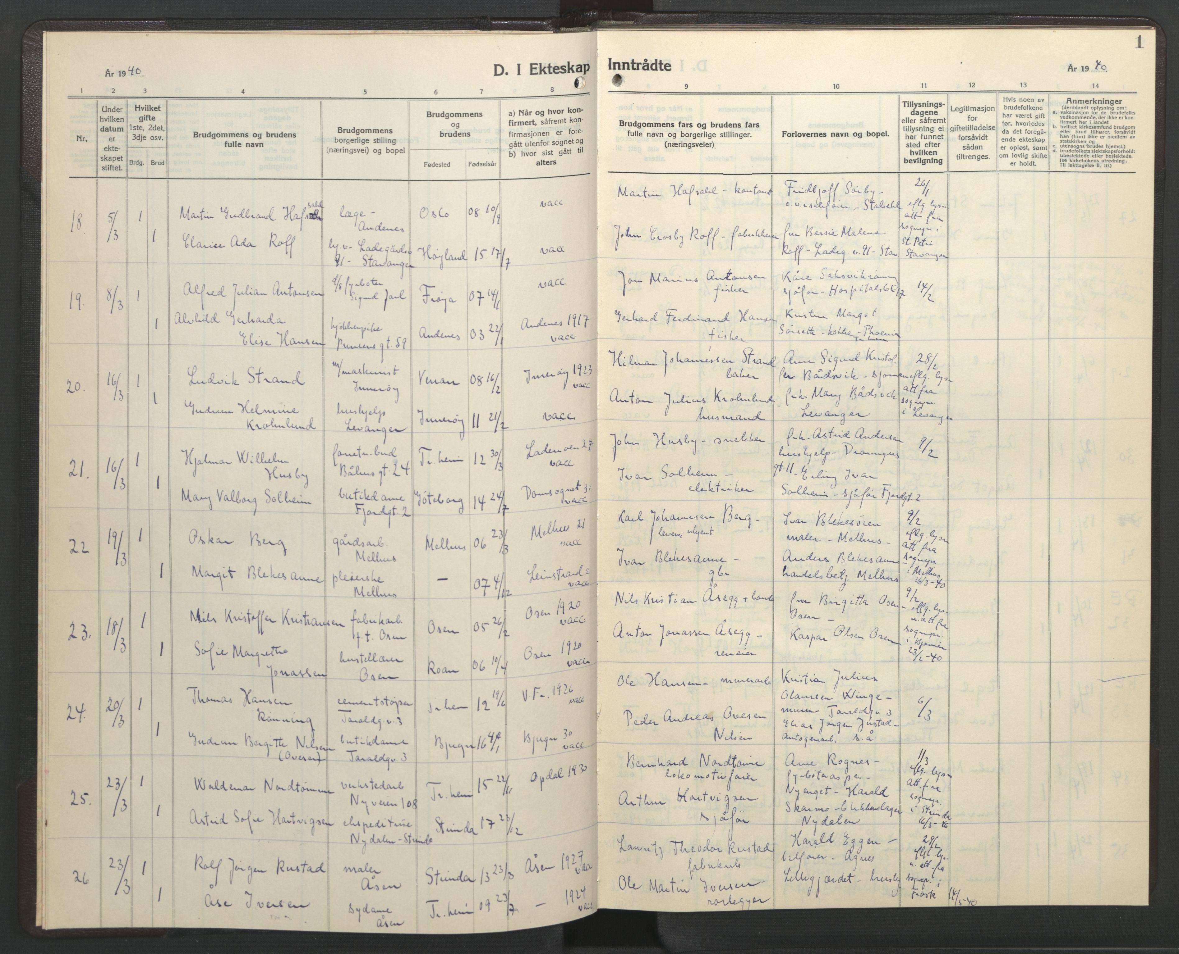 SAT, Ministerialprotokoller, klokkerbøker og fødselsregistre - Sør-Trøndelag, 602/L0154: Klokkerbok nr. 602C22, 1940-1947, s. 1