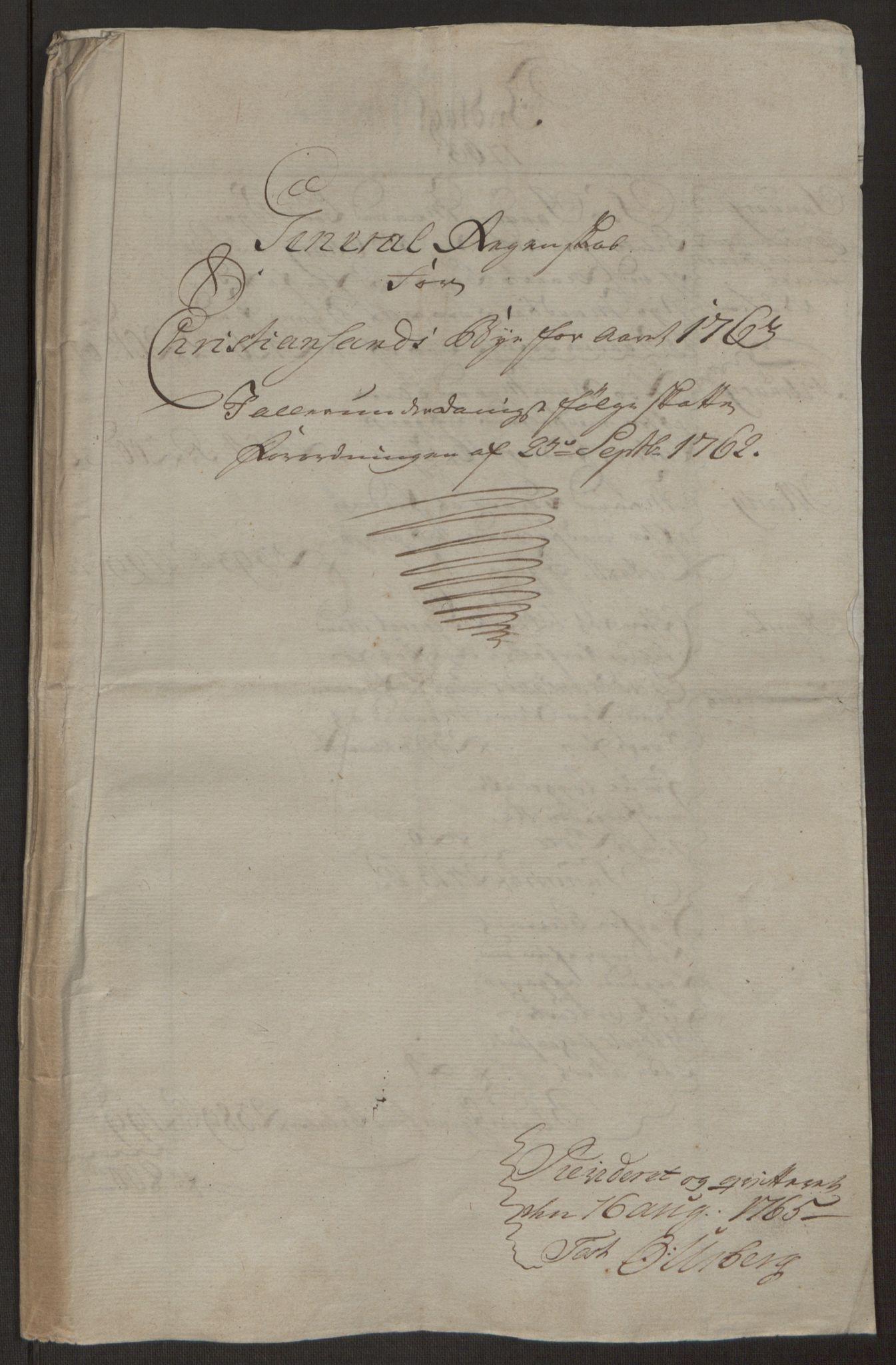 RA, Rentekammeret inntil 1814, Reviderte regnskaper, Byregnskaper, R/Rm/L0265: [M6] Kontribusjonsregnskap, 1762-1764, s. 71