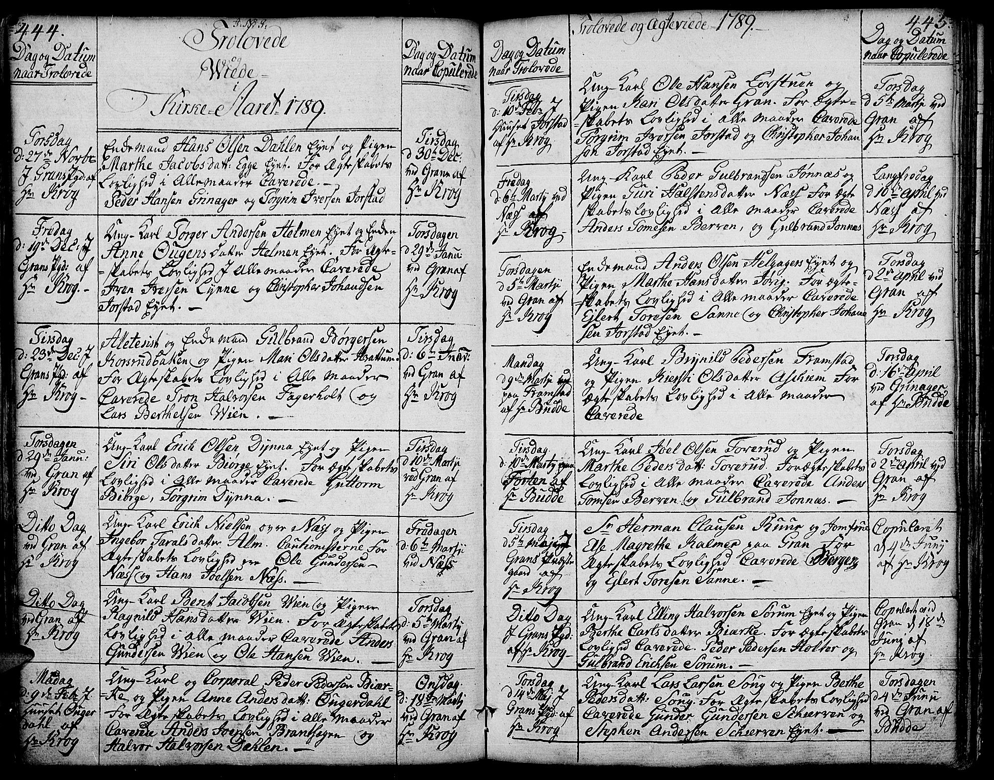 SAH, Gran prestekontor, Ministerialbok nr. 6, 1787-1824, s. 444-445