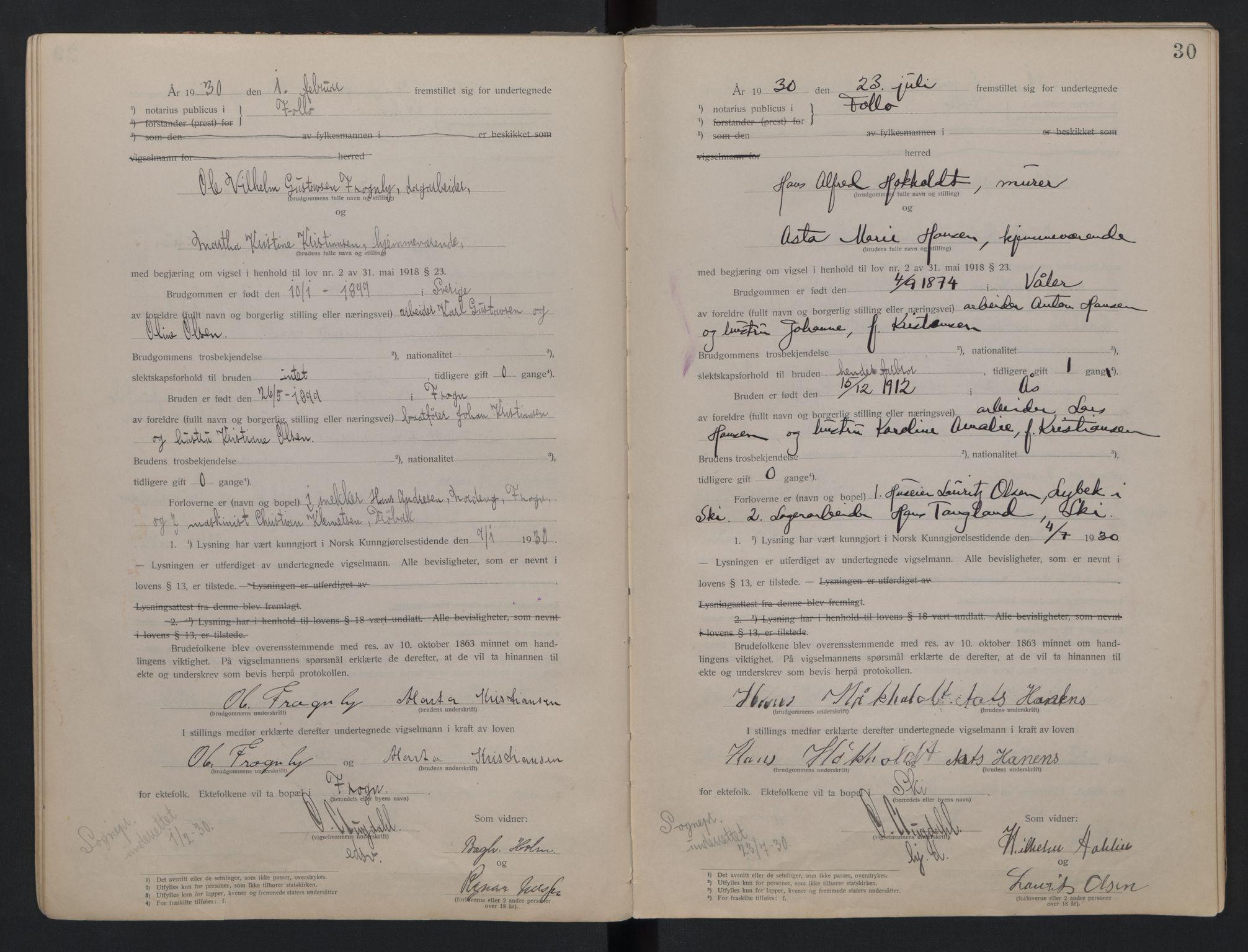 SAO, Follo sorenskriveri, L/La/Lab/L0001: Vigselsbok, 1920-1942, s. 30