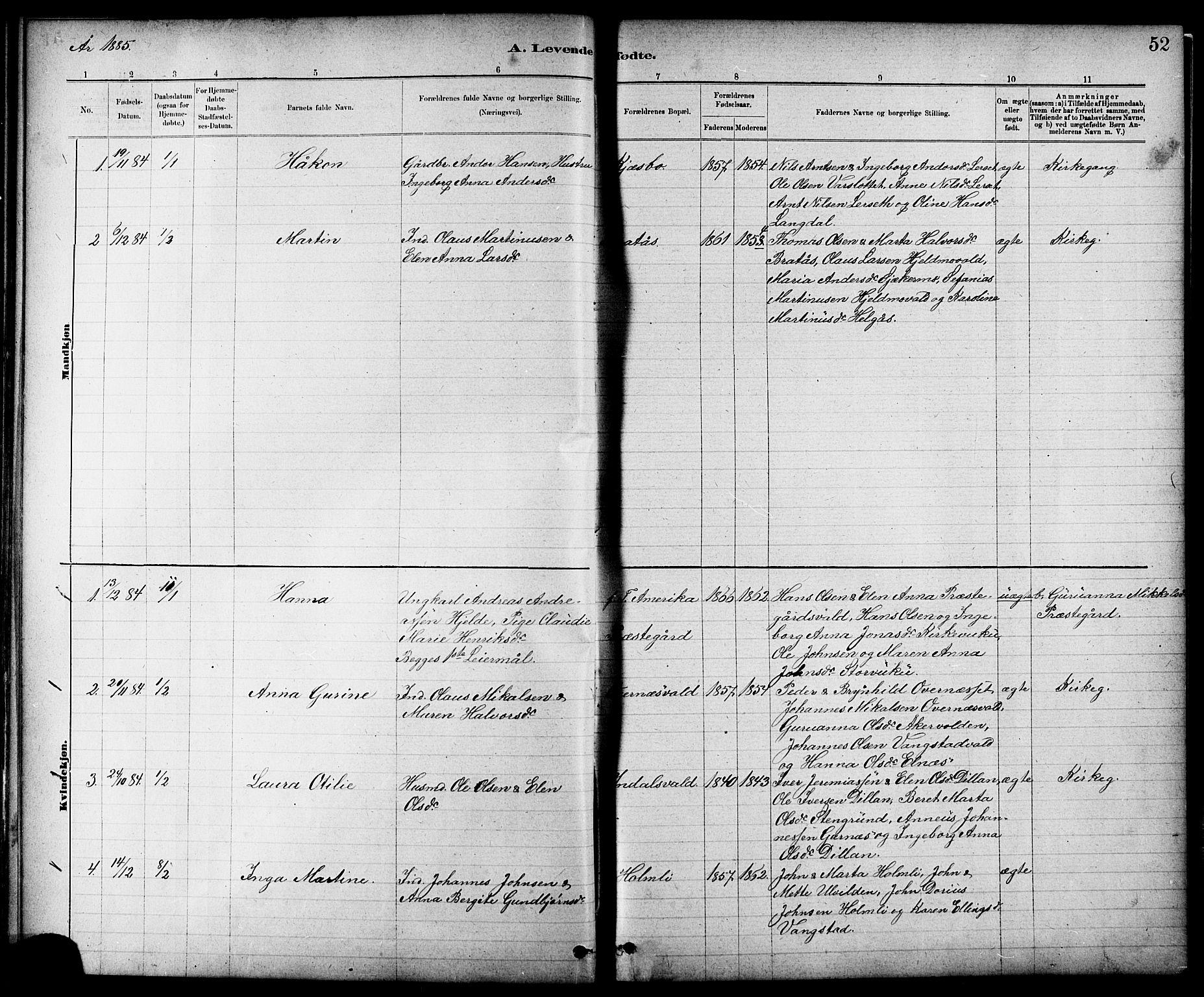 SAT, Ministerialprotokoller, klokkerbøker og fødselsregistre - Nord-Trøndelag, 724/L0267: Klokkerbok nr. 724C03, 1879-1898, s. 52