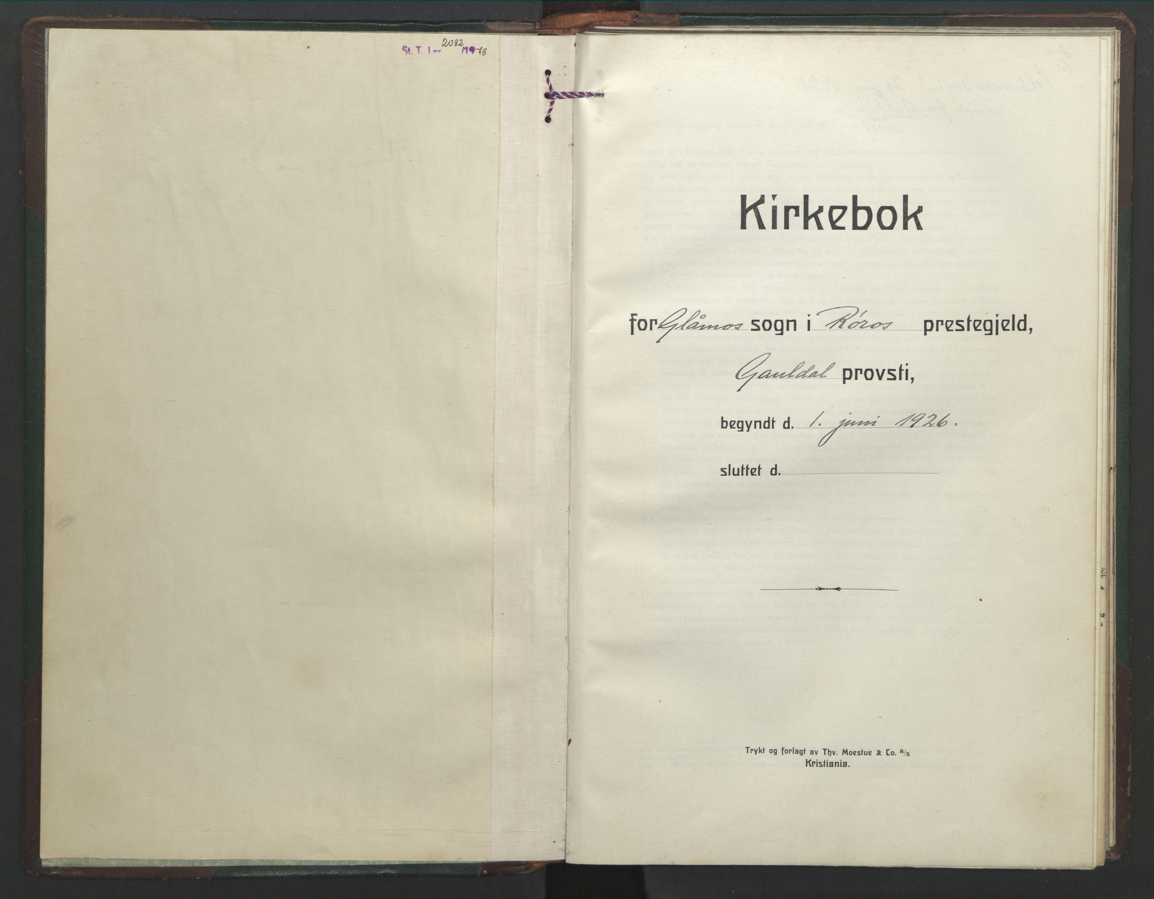 SAT, Ministerialprotokoller, klokkerbøker og fødselsregistre - Sør-Trøndelag, 682/L0947: Klokkerbok nr. 682C01, 1926-1968