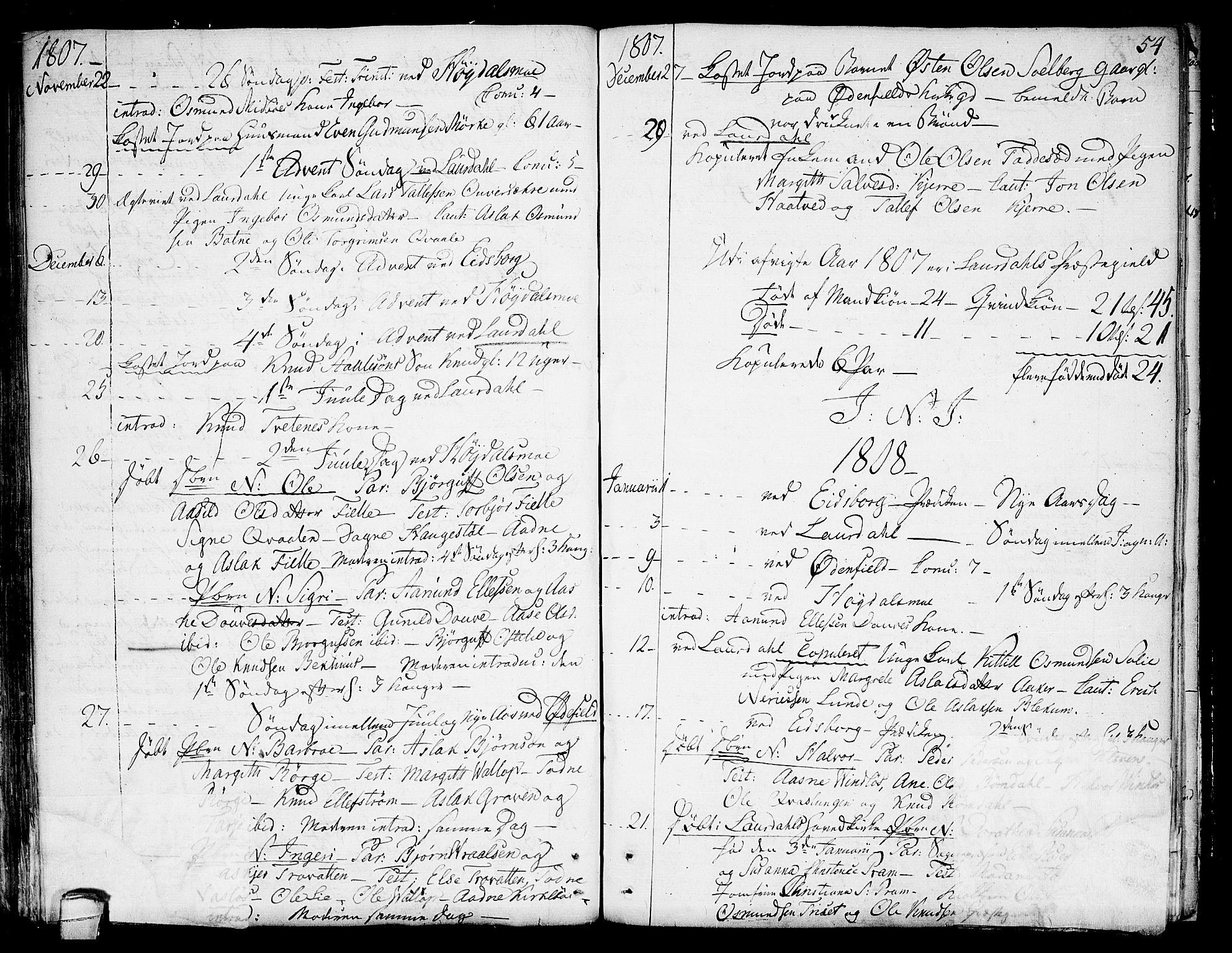 SAKO, Lårdal kirkebøker, F/Fa/L0004: Ministerialbok nr. I 4, 1790-1814, s. 54