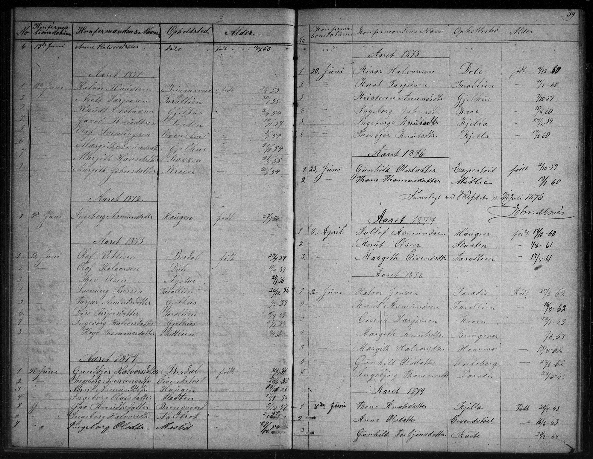 SAKO, Vinje kirkebøker, G/Gb/L0002: Klokkerbok nr. II 2, 1849-1891, s. 39