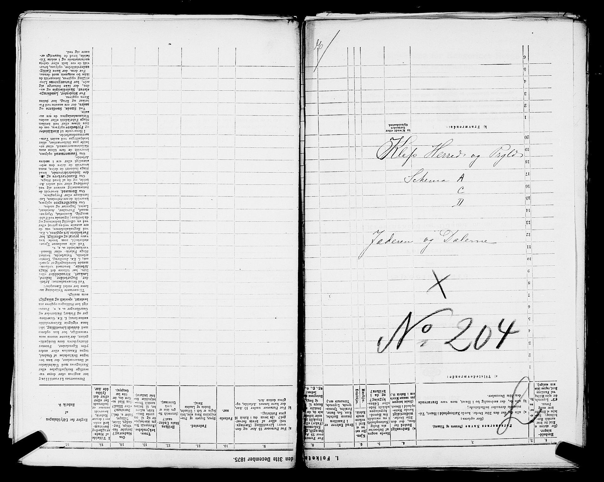 SAST, Folketelling 1875 for 1120P Klepp prestegjeld, 1875, s. 1