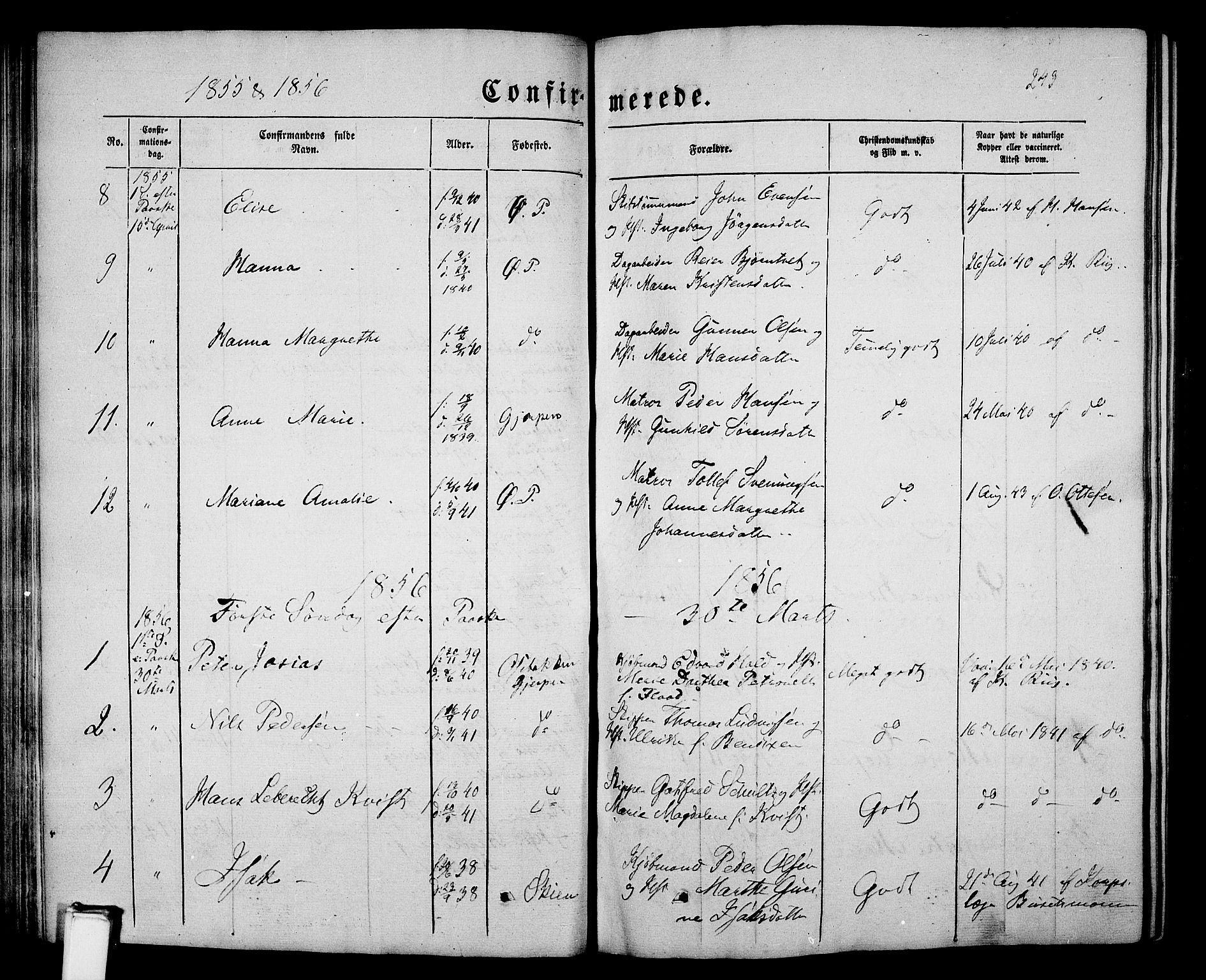 SAKO, Porsgrunn kirkebøker , G/Gb/L0004: Klokkerbok nr. II 4, 1853-1882, s. 243
