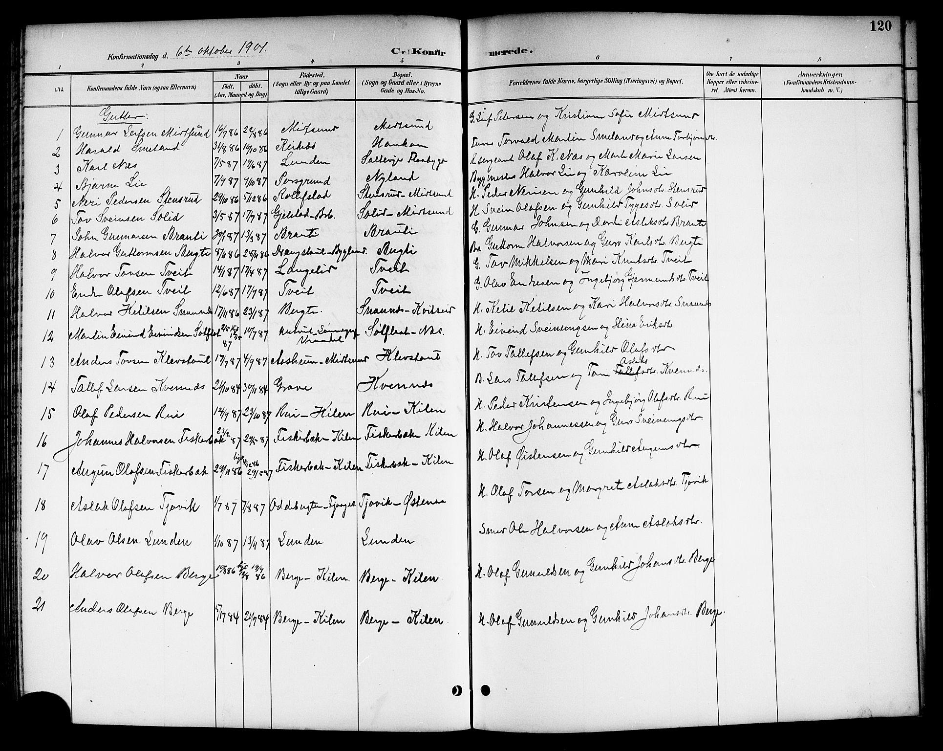 SAKO, Kviteseid kirkebøker, G/Ga/L0002: Klokkerbok nr. I 2, 1893-1918, s. 120