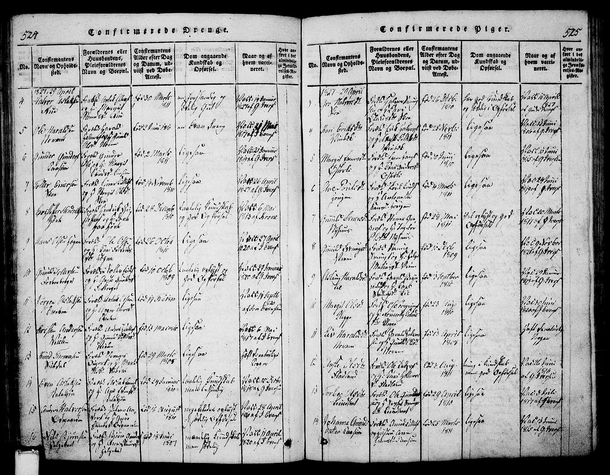 SAKO, Bø kirkebøker, G/Ga/L0001: Klokkerbok nr. 1, 1815-1831, s. 524-525